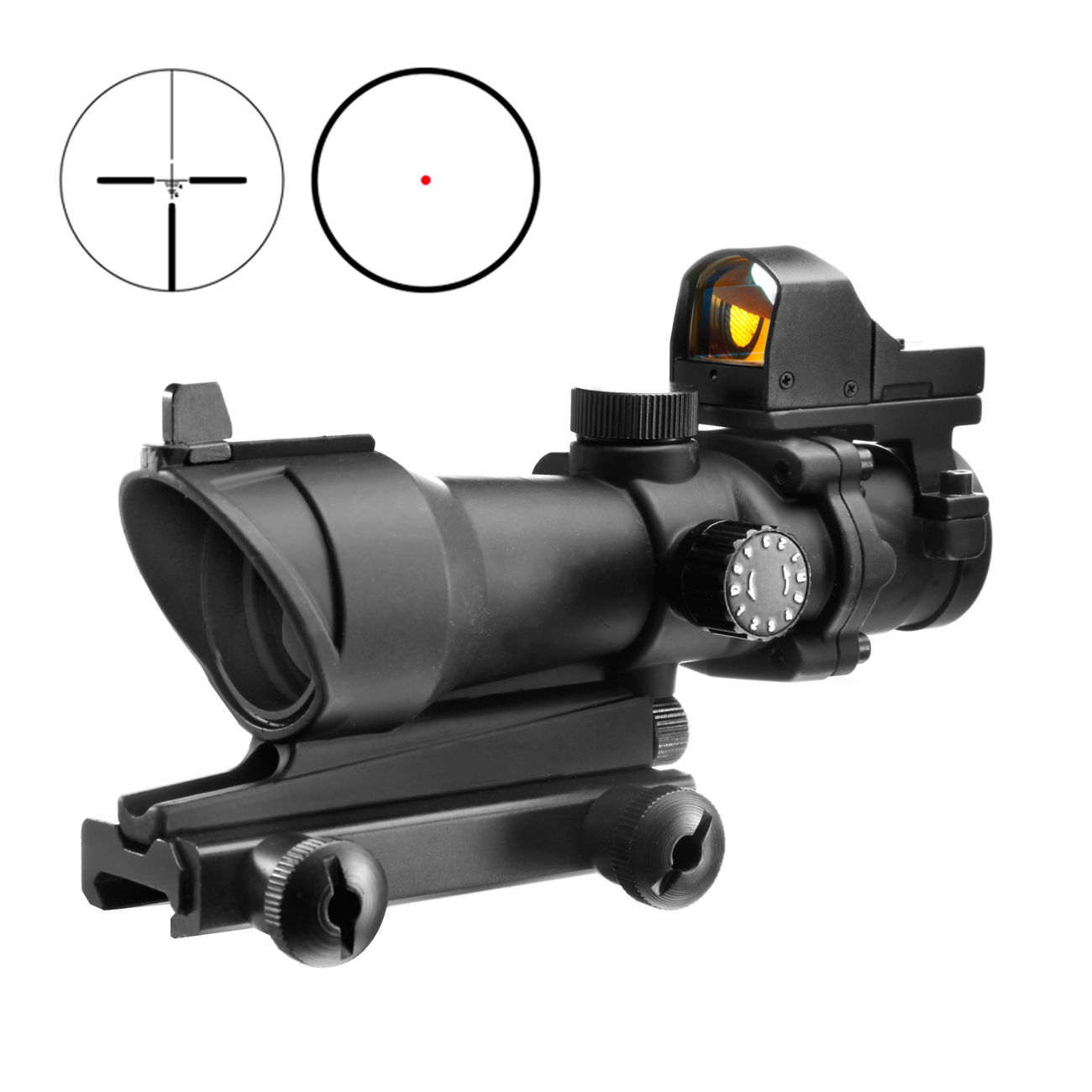 Aim-O TA01 Style Scope 4x32 beleuchtet mit Mini Red Dot schwarz AO 5320-BK 0