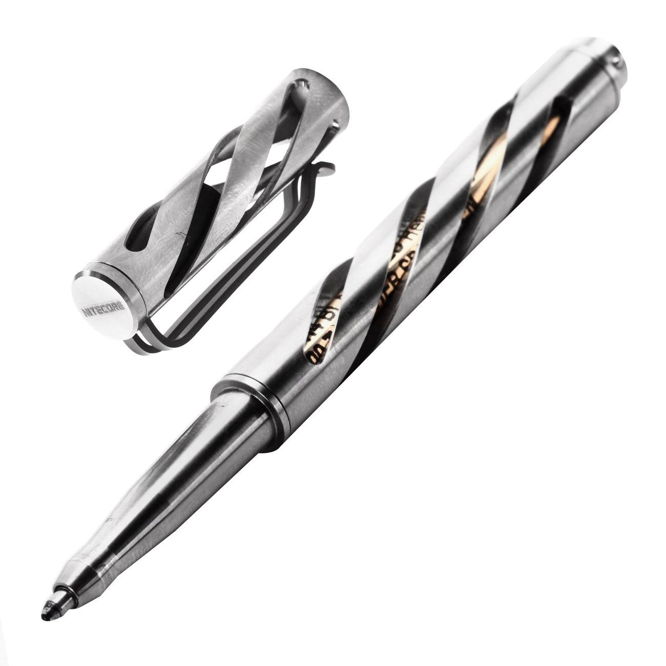 nitecore kugelschreiber tactical pen ntp10 aus titan mit