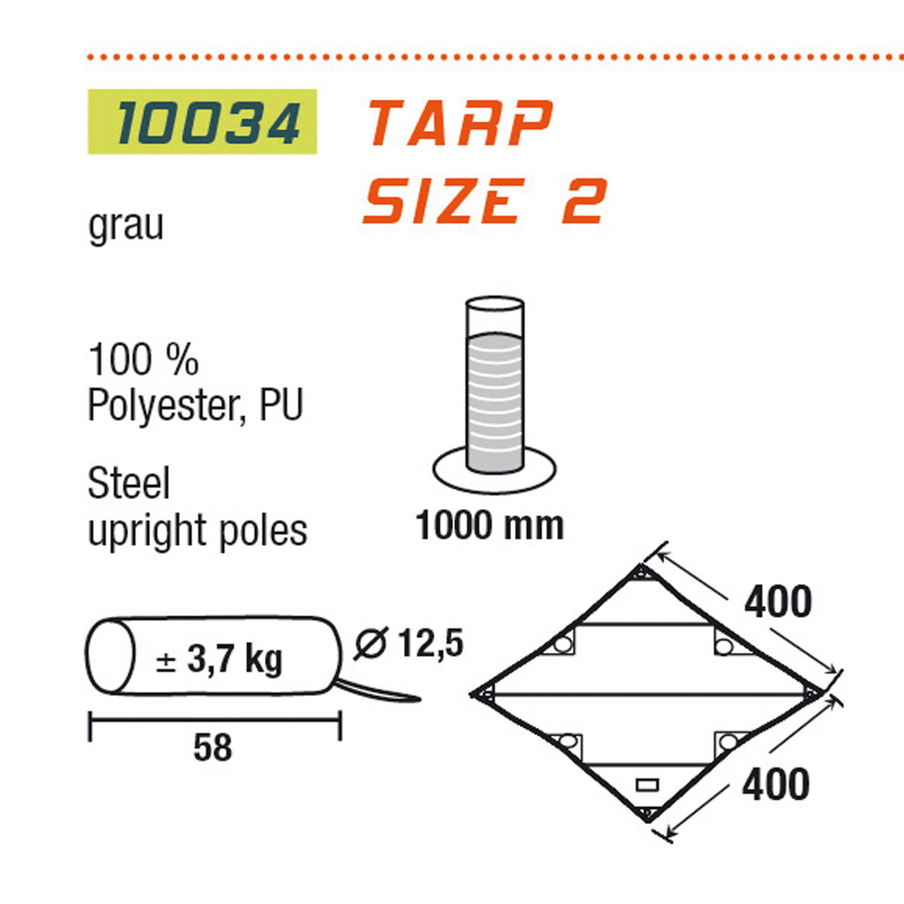 High Peak Sonnensegel Tarp 2 4x4m grau 2