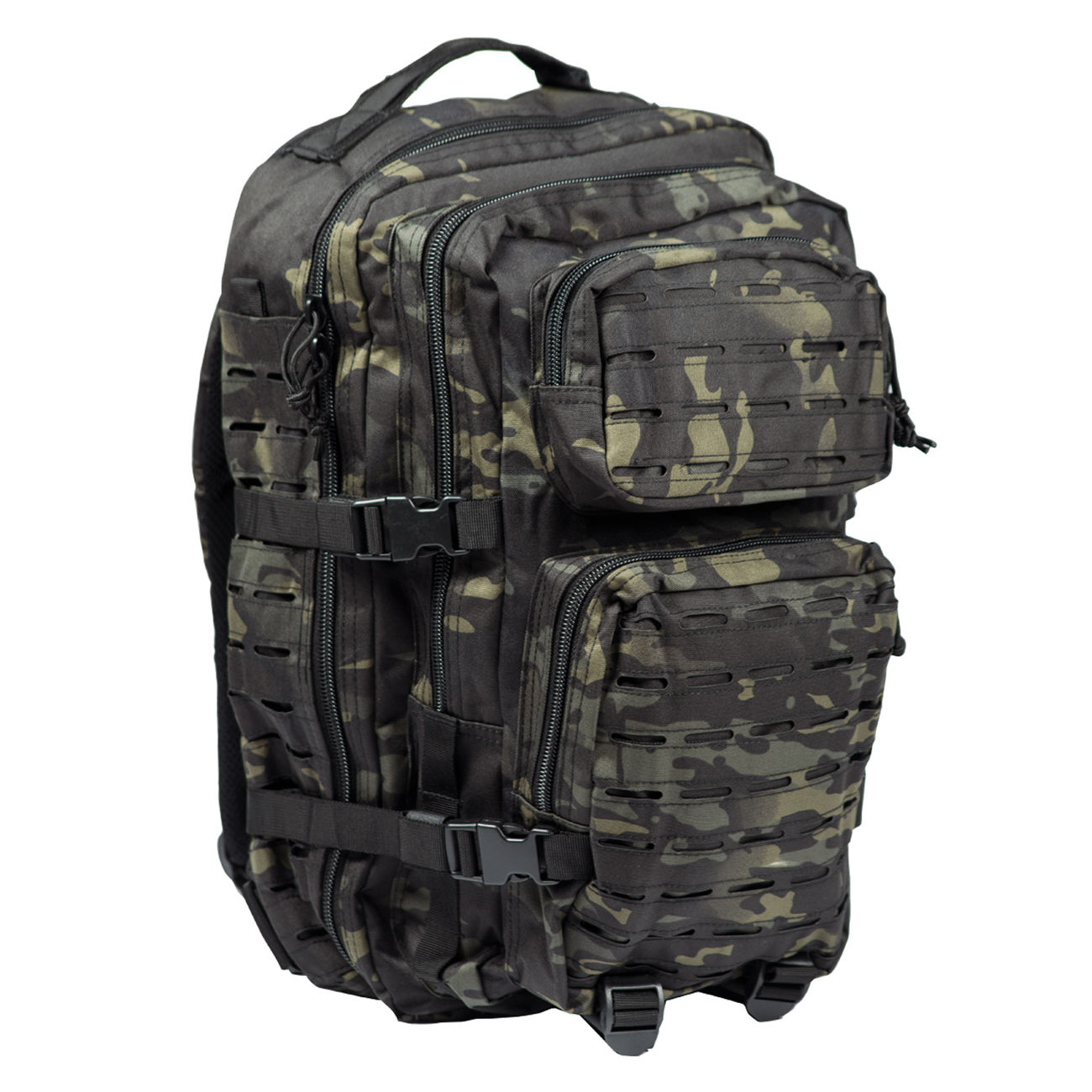 Mil-Tec Rucksack US Assault Pack Laser Cut large 36L multitarn black 0