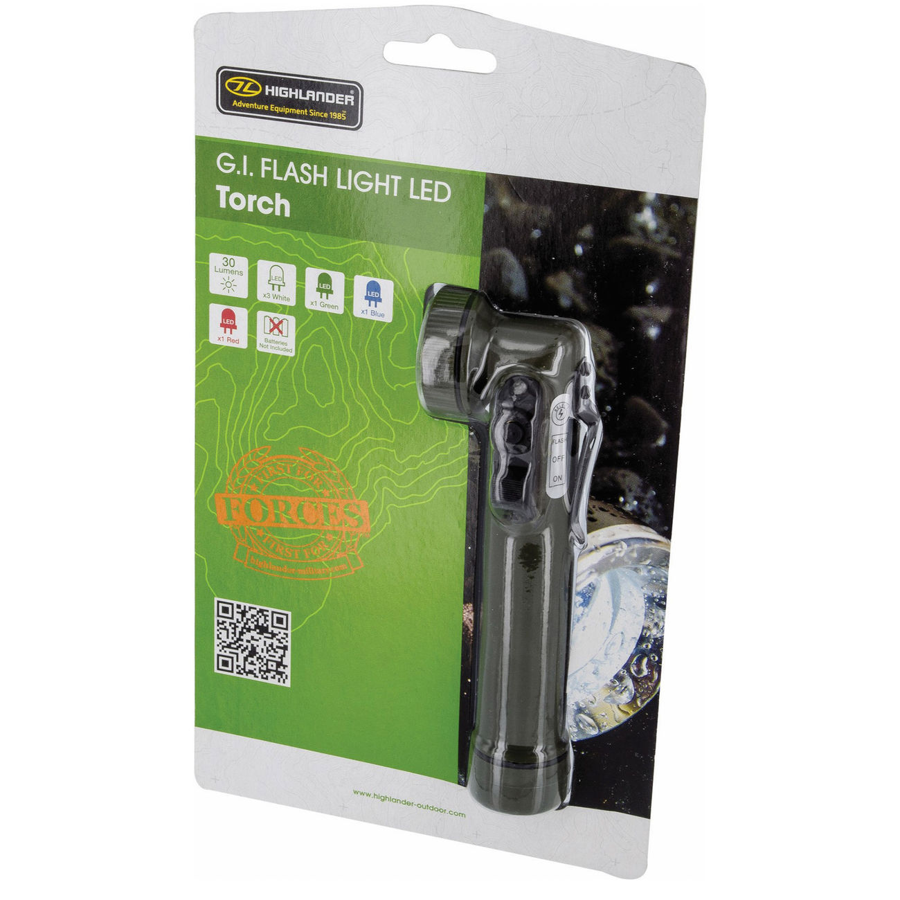 Highlander LED Winkelstablampe G.I. Flashlight Torch 30 Lumen oliv 1