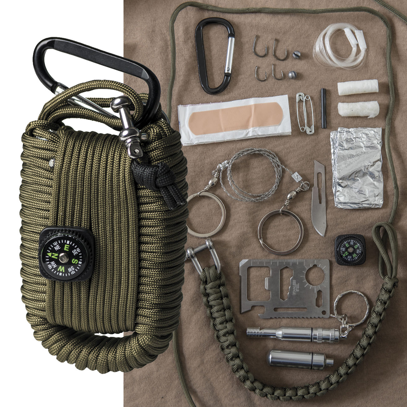 Mil-Tec Paracord Survival Kit large oliv 0