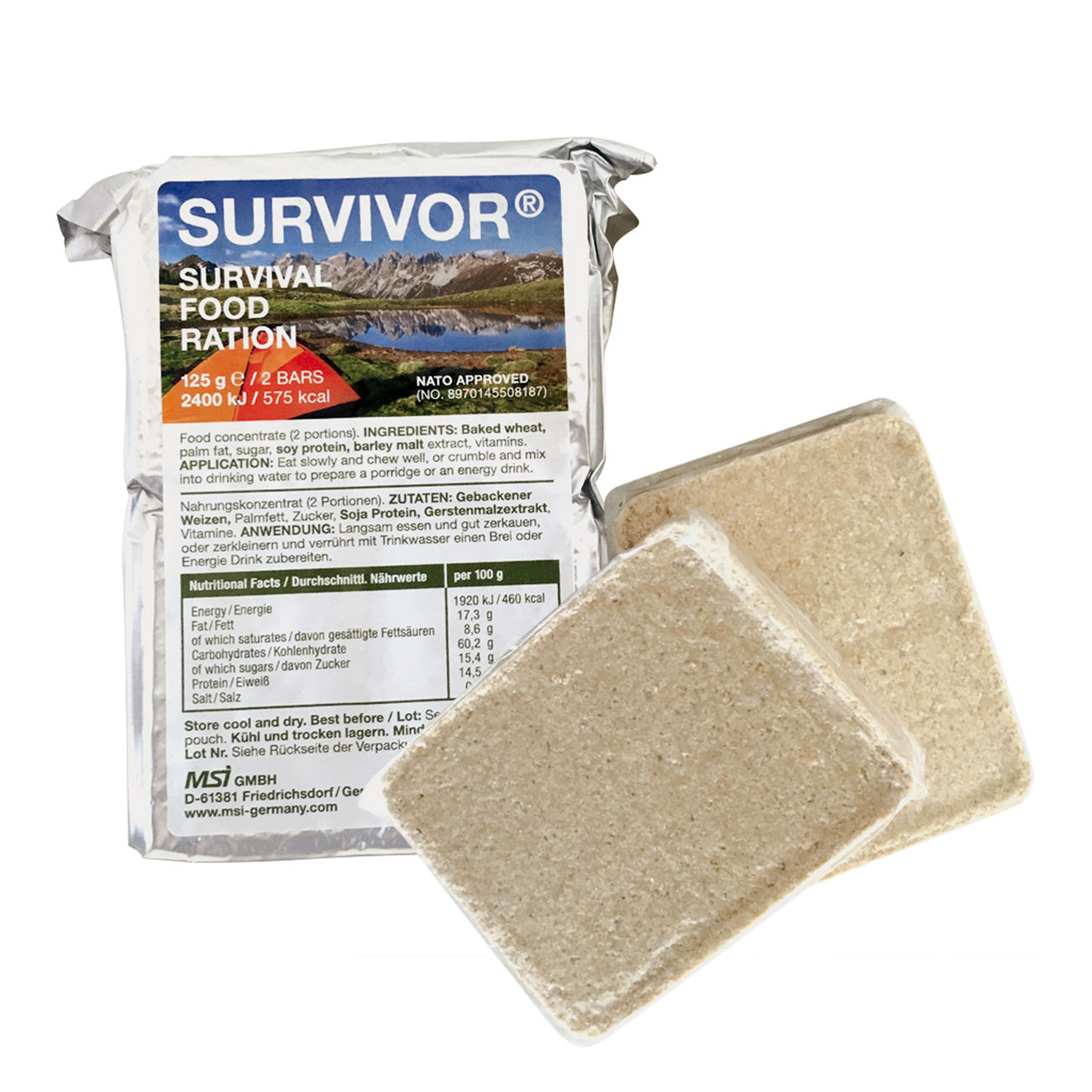 SURVIVOR Survival Food Ration Outdoornahrung 125g / 2 Riegel 0