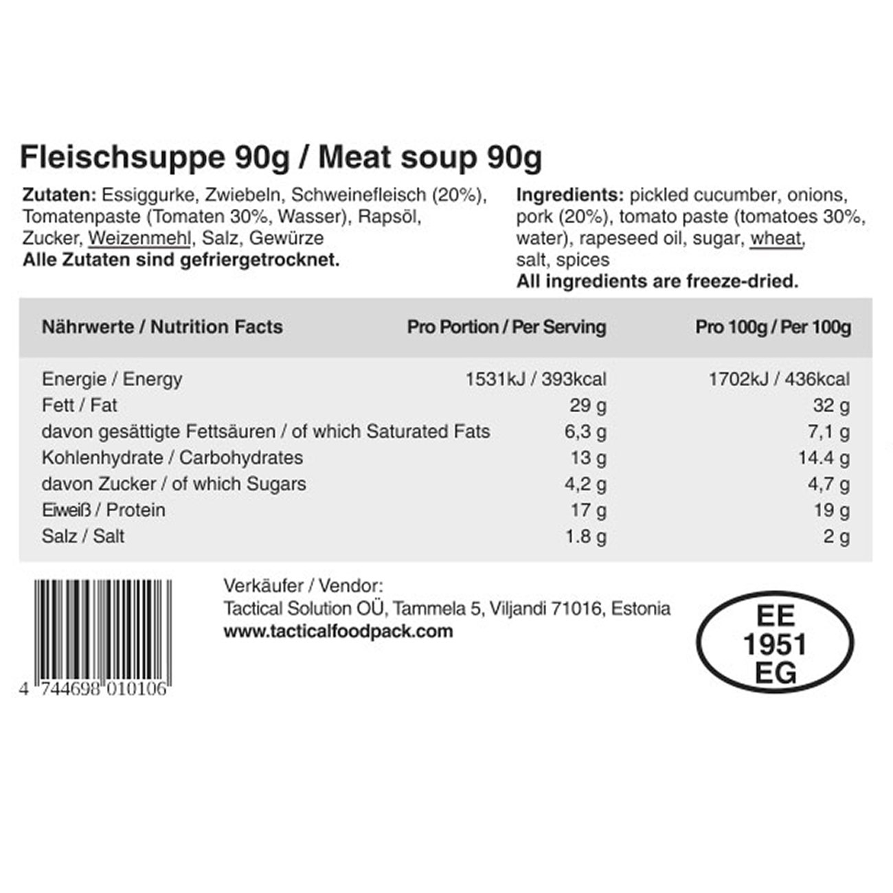 Tactical Foodpack Outdoor Mahlzeit Fleischsuppe 4