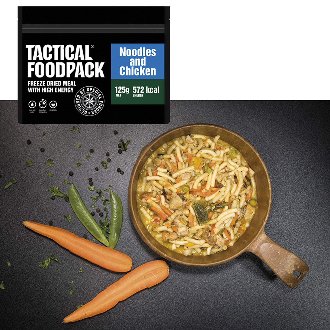 Tactical Foodpack Outdoor Mahlzeit Hühnchen mit Nudeln 0