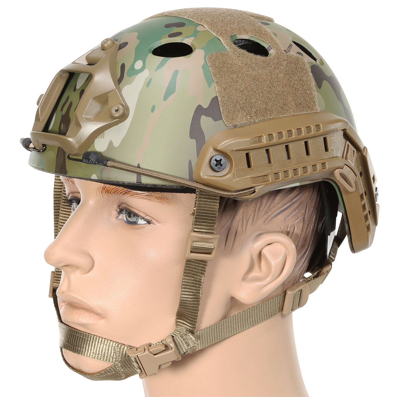Nuprol FAST Railed Airsoft Helm mit NVG Mount MC-Camo 0