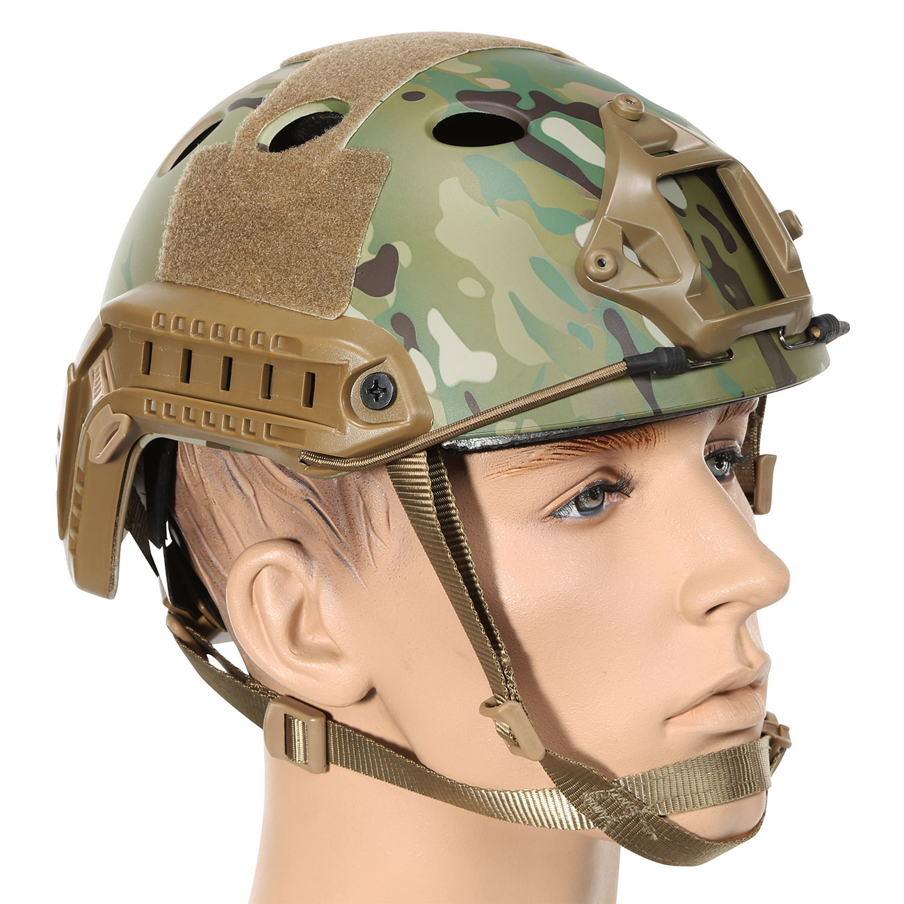 Nuprol FAST Railed Airsoft Helm mit NVG Mount MC-Camo 1