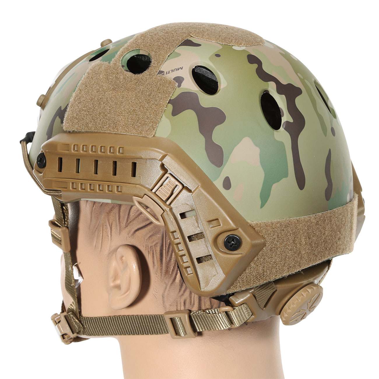 Nuprol FAST Railed Airsoft Helm mit NVG Mount MC-Camo 2