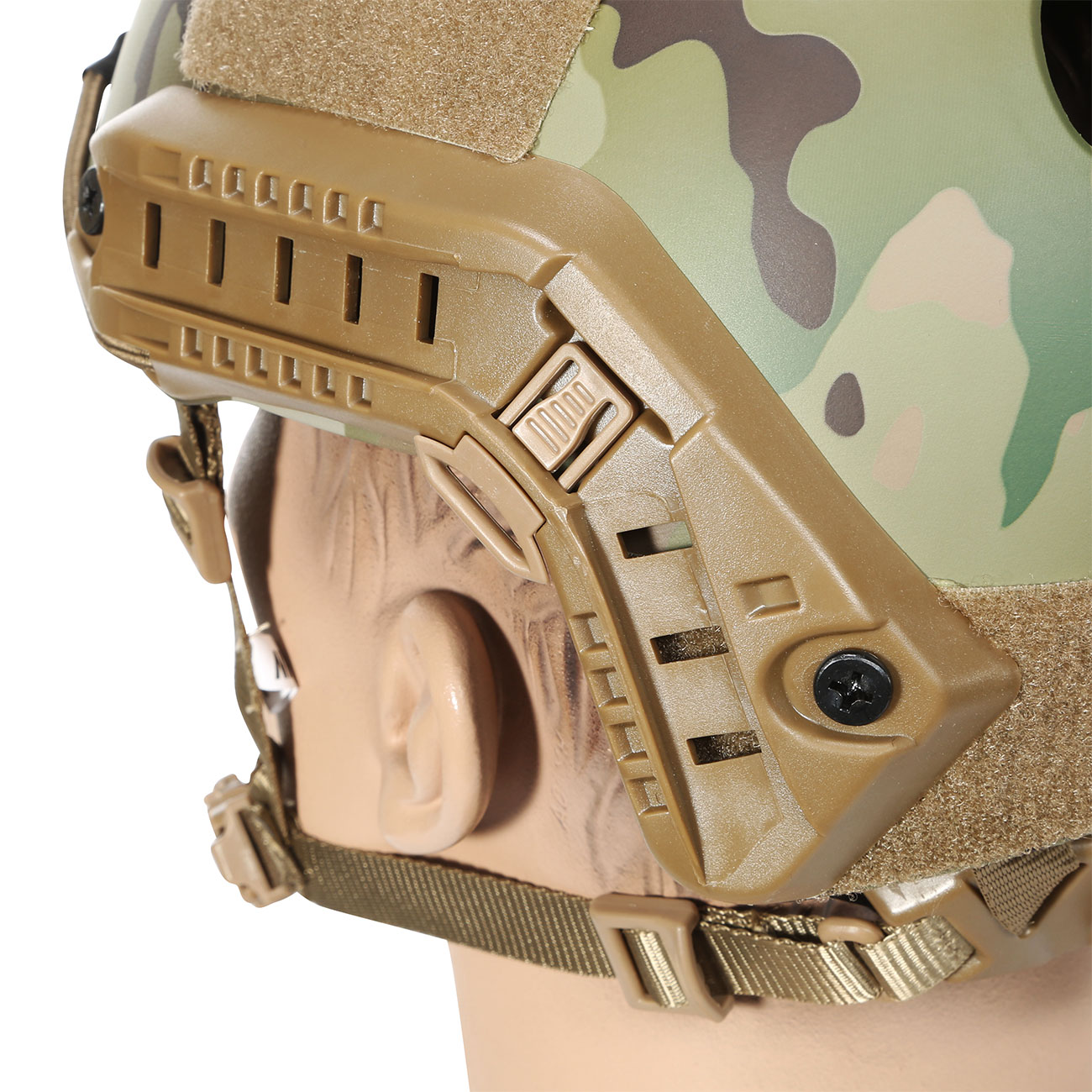 Nuprol FAST Railed Airsoft Helm mit NVG Mount MC-Camo 7