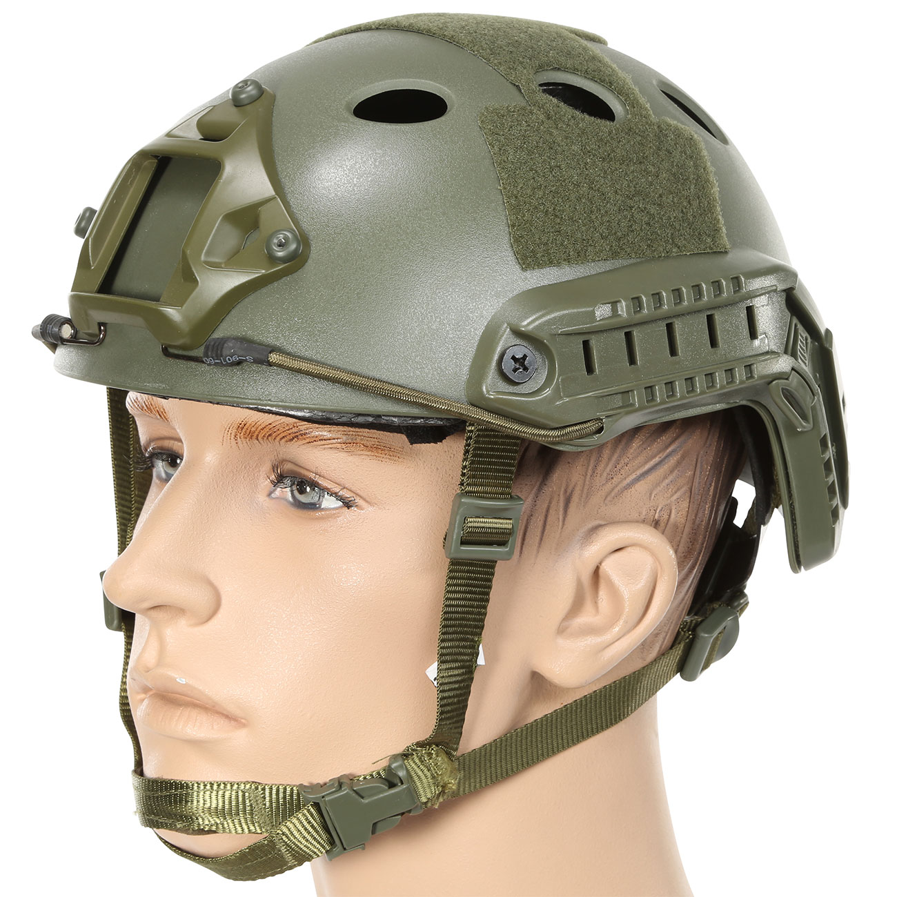 Nuprol FAST Railed Airsoft Helm mit NVG Mount oliv 0