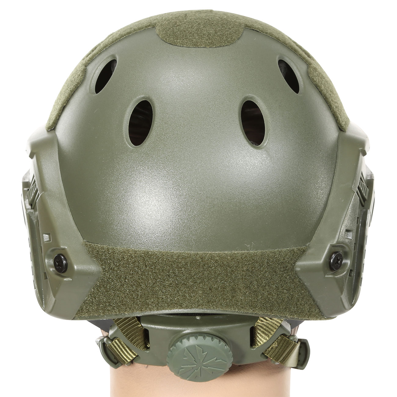 Nuprol FAST Railed Airsoft Helm mit NVG Mount oliv 3