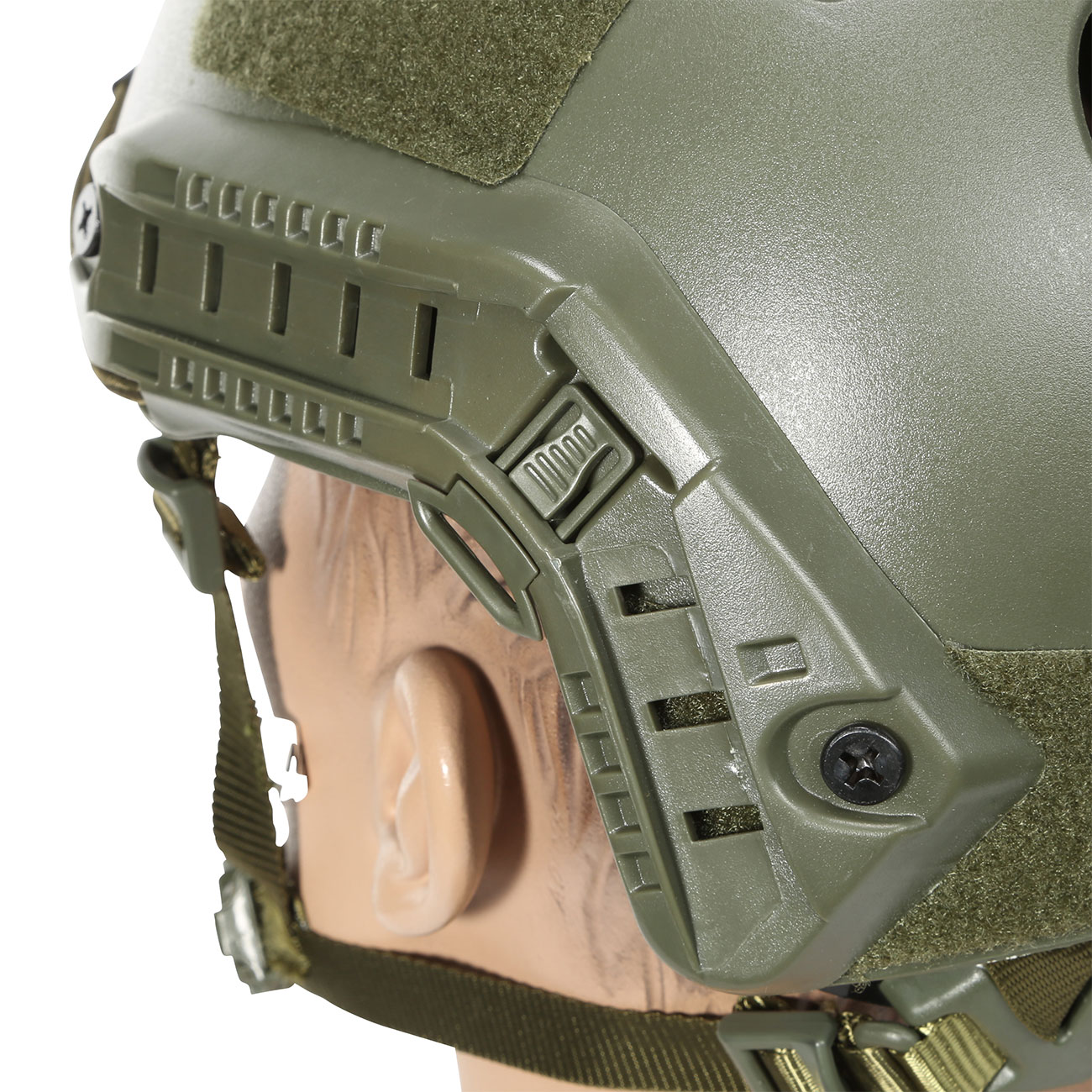 Nuprol FAST Railed Airsoft Helm mit NVG Mount oliv 7