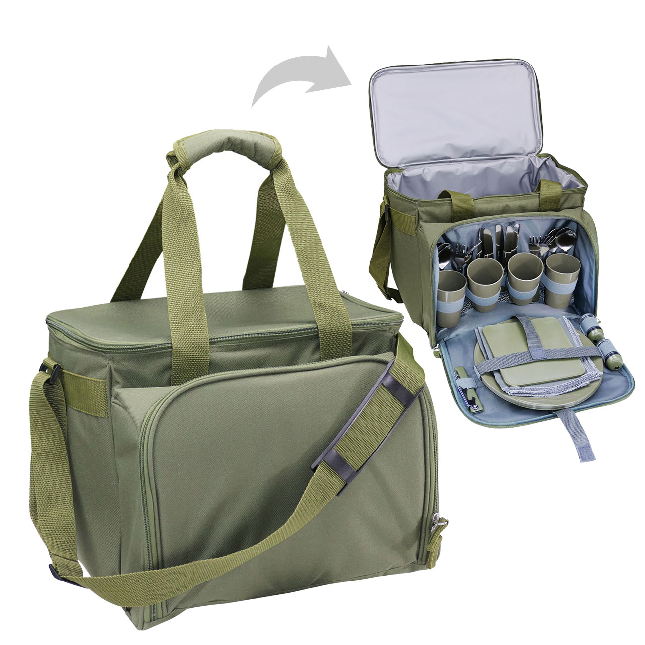 Commando Industries Kühltasche Cooler Bag 20 Liter mit Picknick-Set oliv 0