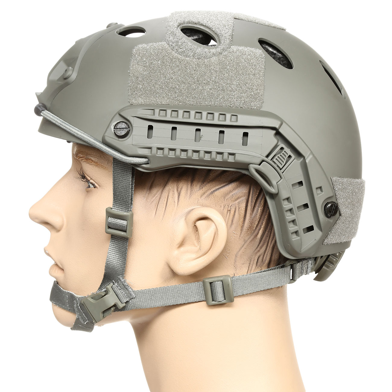 nHelmet FAST PJ Standard Railed Airsoft Helm mit NVG Mount Foliage Green 1