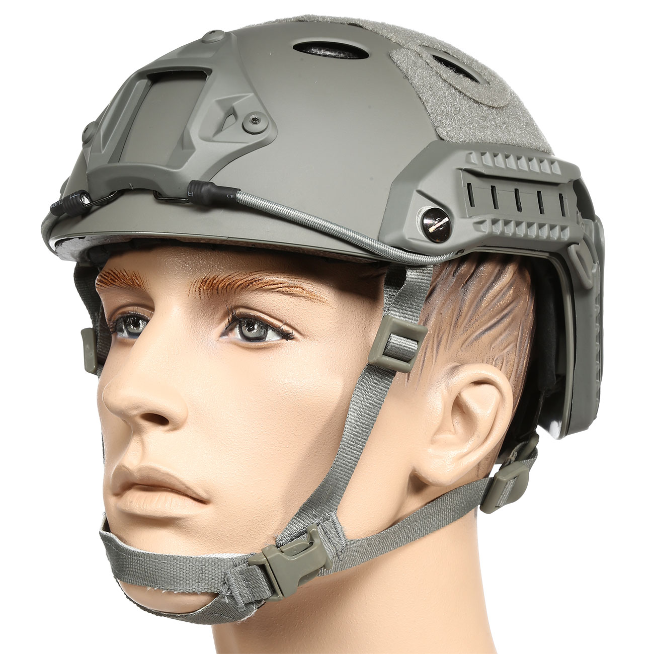 nHelmet FAST PJ Maritime Railed Airsoft Helm mit NVG Mount Foliage Green 0