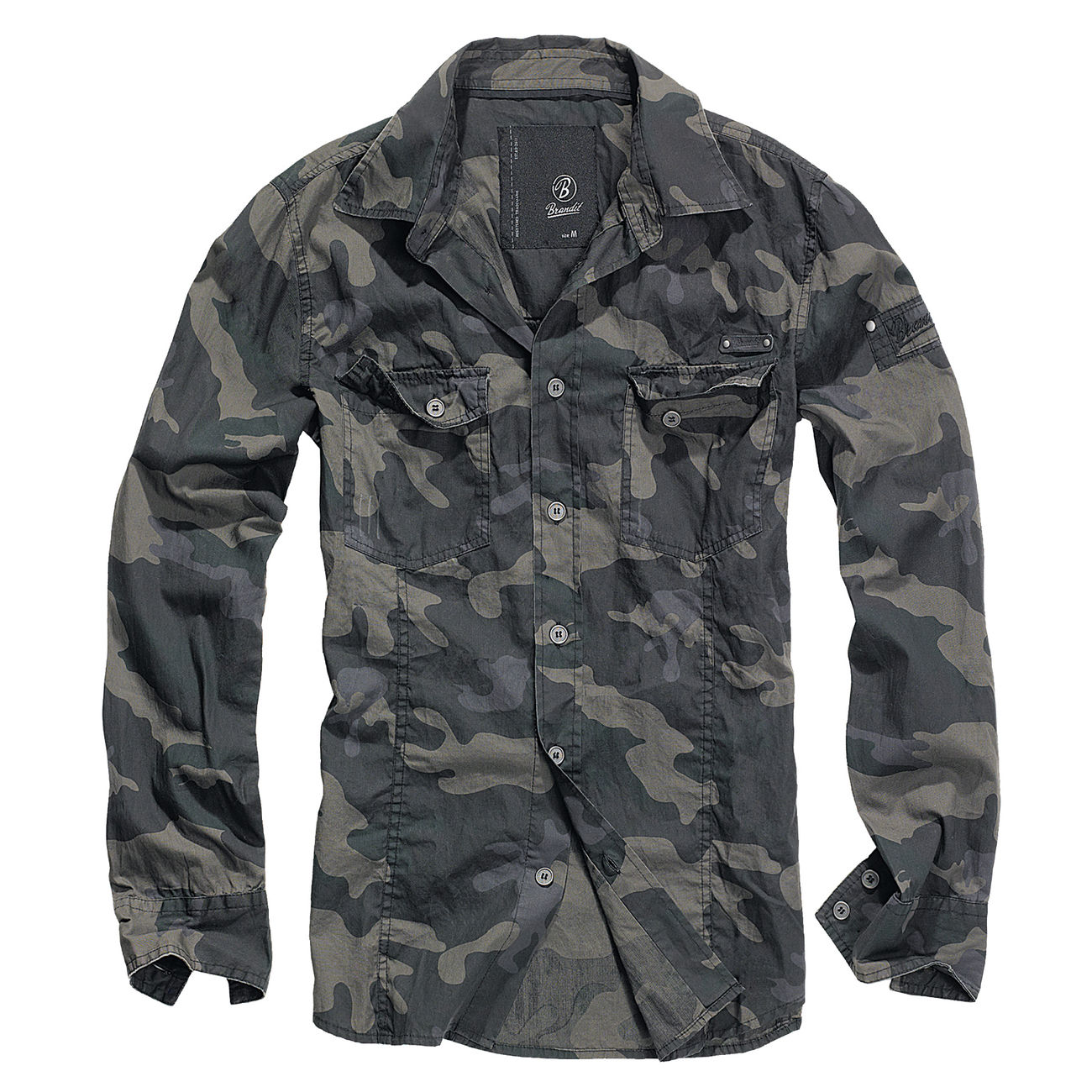 Brandit Hemd Slim Fit Shirt dark camo 0