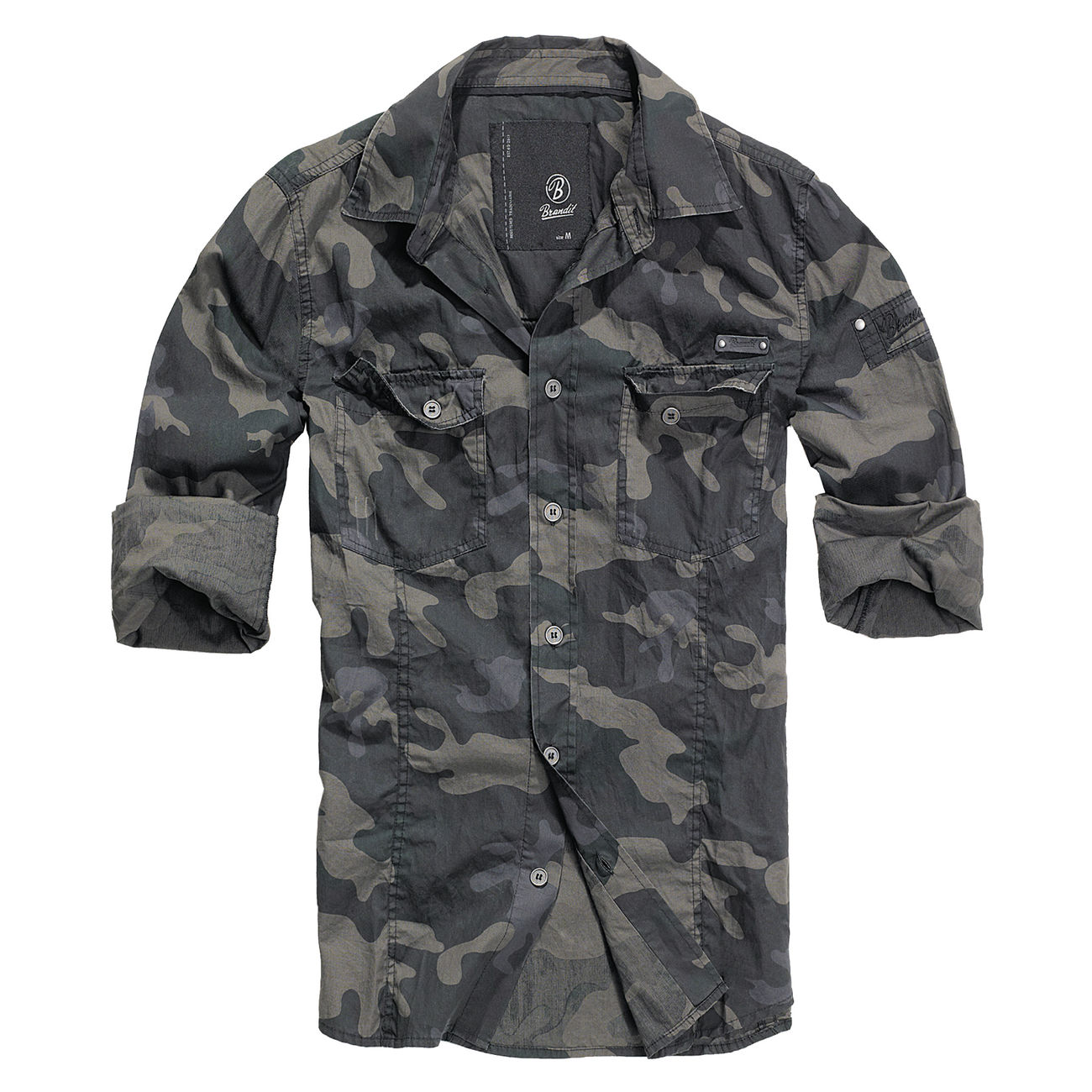 Brandit Hemd Slim Fit Shirt dark camo 1