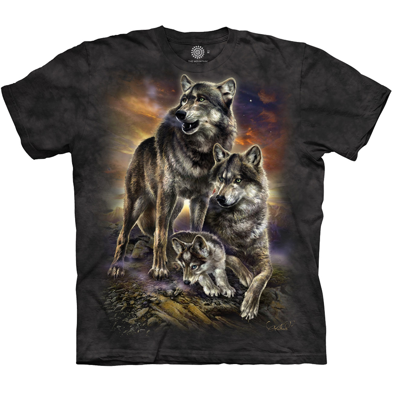 The Mountain T-Shirt Wolf Family Sunrise 0