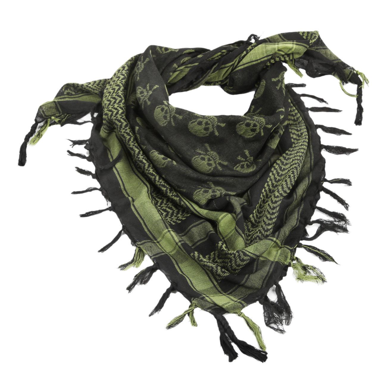 Professionel speziell für Schuh heiß-verkaufender Fachmann Shemag / PLO Tuch mit Fransen Totenkopf oliv-schwarz