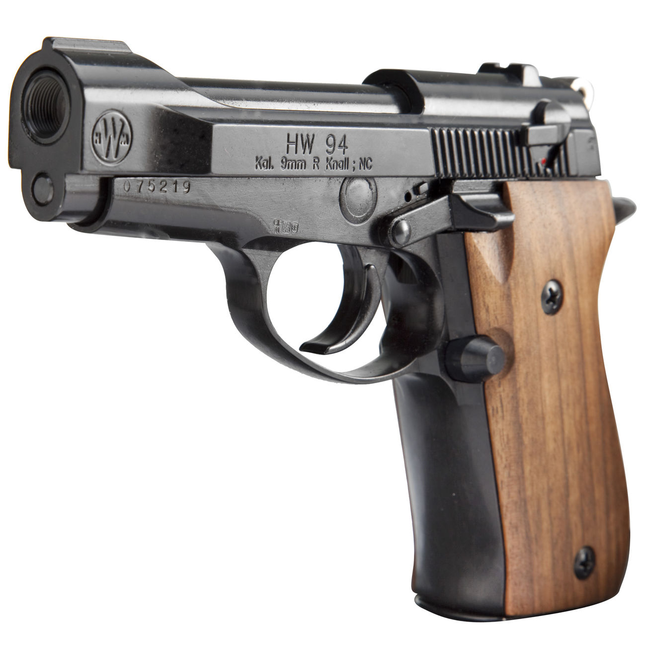 weihrauch hw 94 schreckschuss pistole 9mm r k br niert holzgriffschalen kotte zeller. Black Bedroom Furniture Sets. Home Design Ideas