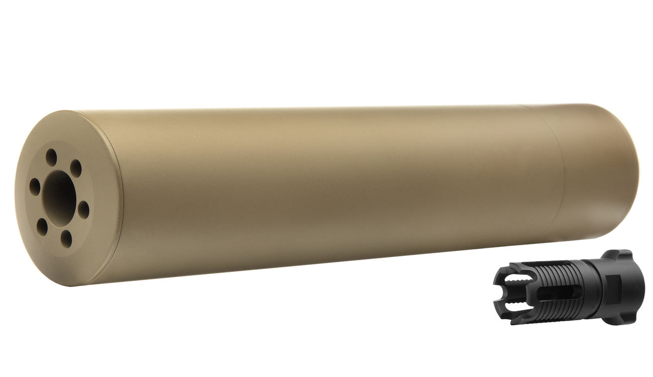 Madbull / Gemtech G5 Aluminium Silencer inkl. Flash-Hider Desert Tan 14mm - 0