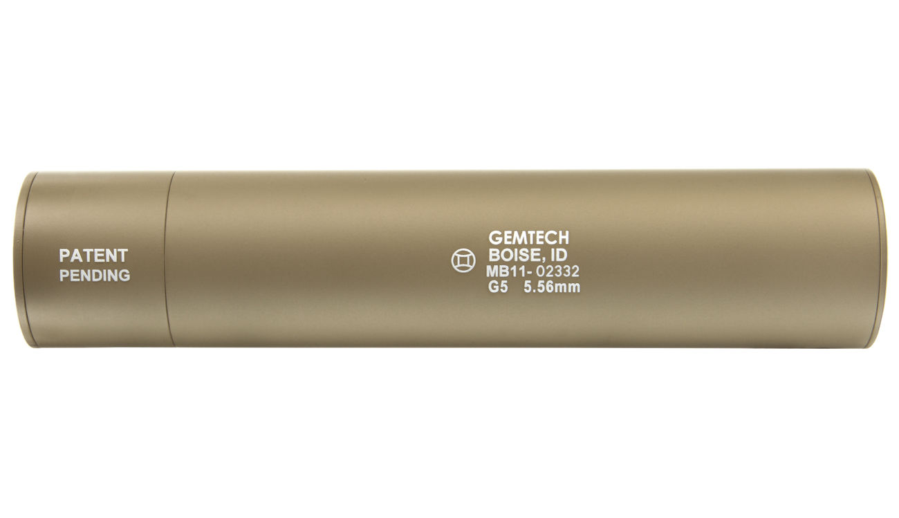 Madbull / Gemtech G5 Aluminium Silencer inkl. Flash-Hider Desert Tan 14mm - 3