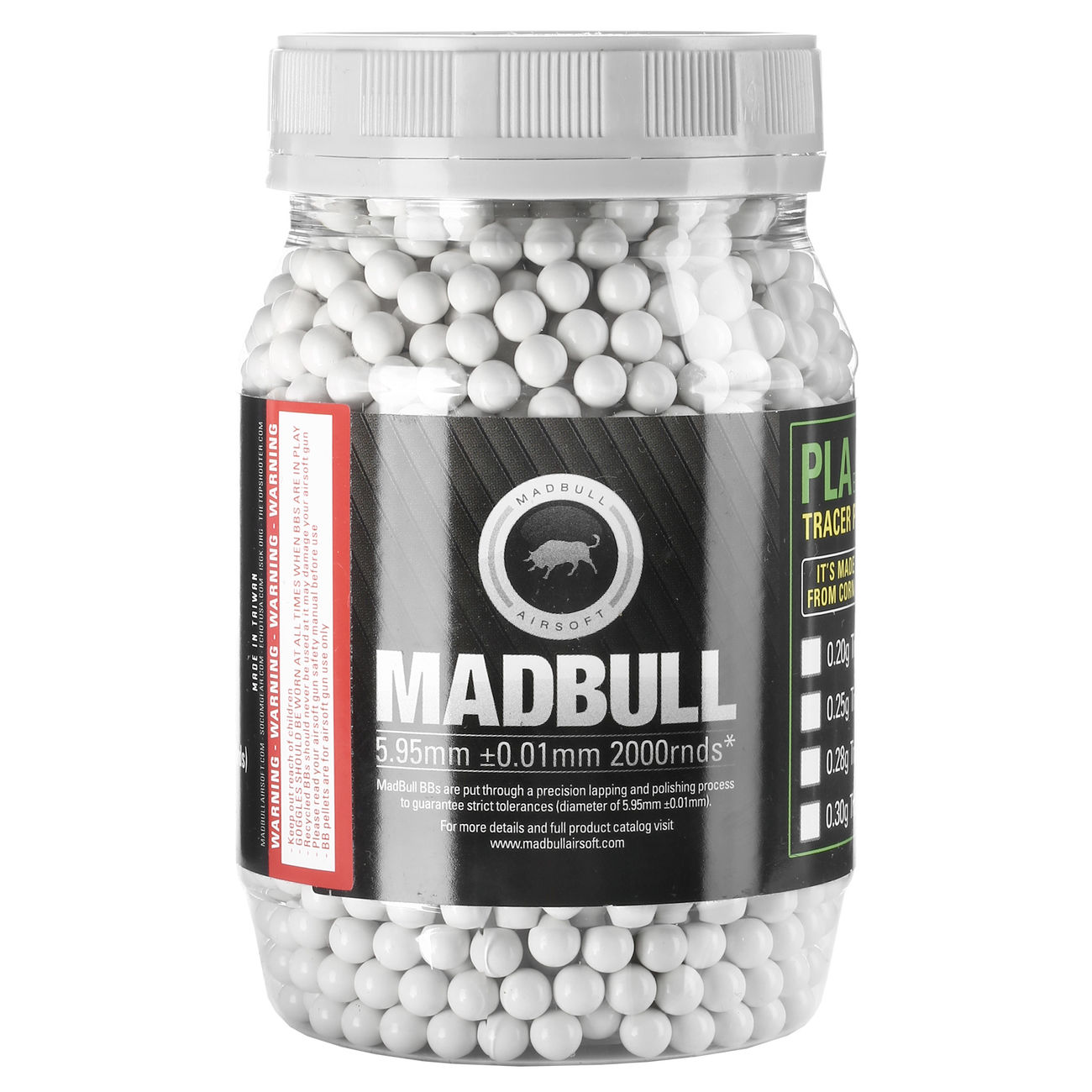 MadBull Heavy White Series BBs 0.36g 2.000er Container weiss 0