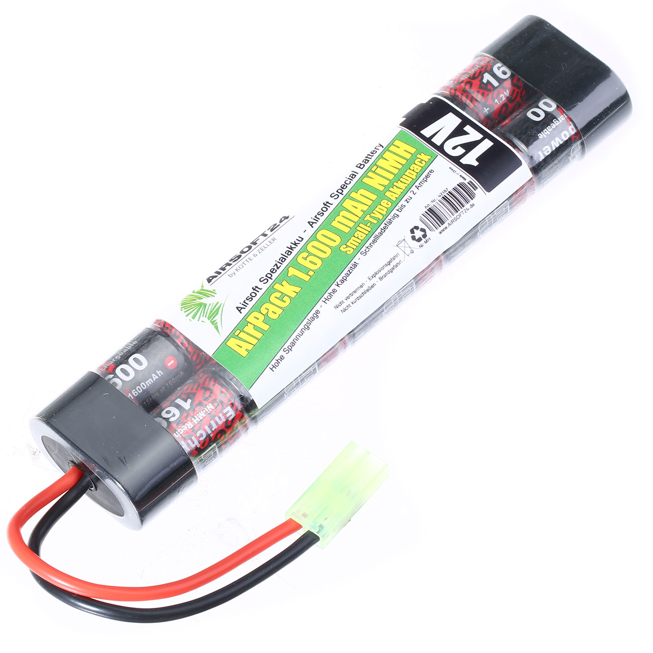 Airsoft24 AirPack Akku 12V 1600mAh NiMH Small-Type mit Mini-Tam Anschluss 0