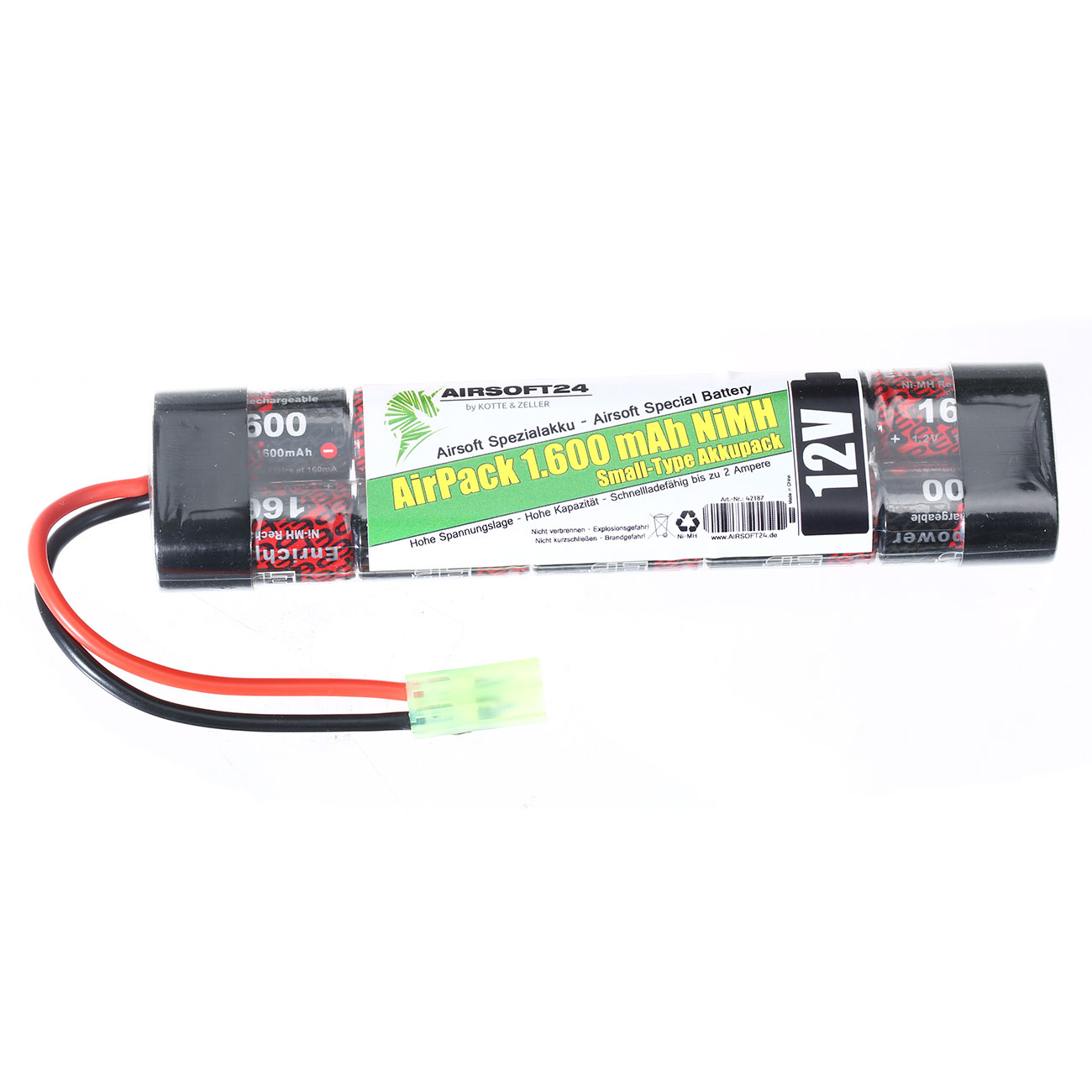 Airsoft24 AirPack Akku 12V 1600mAh NiMH Small-Type mit Mini-Tam Anschluss 1
