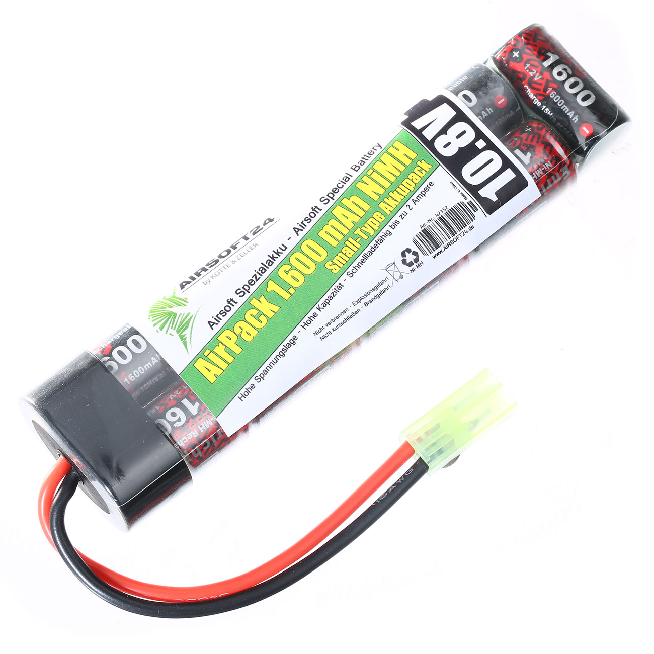 Airsoft24 AirPack Akku 10.8V 1600mAh NiMH Small-Type mit Mini-Tam Anschluss 0