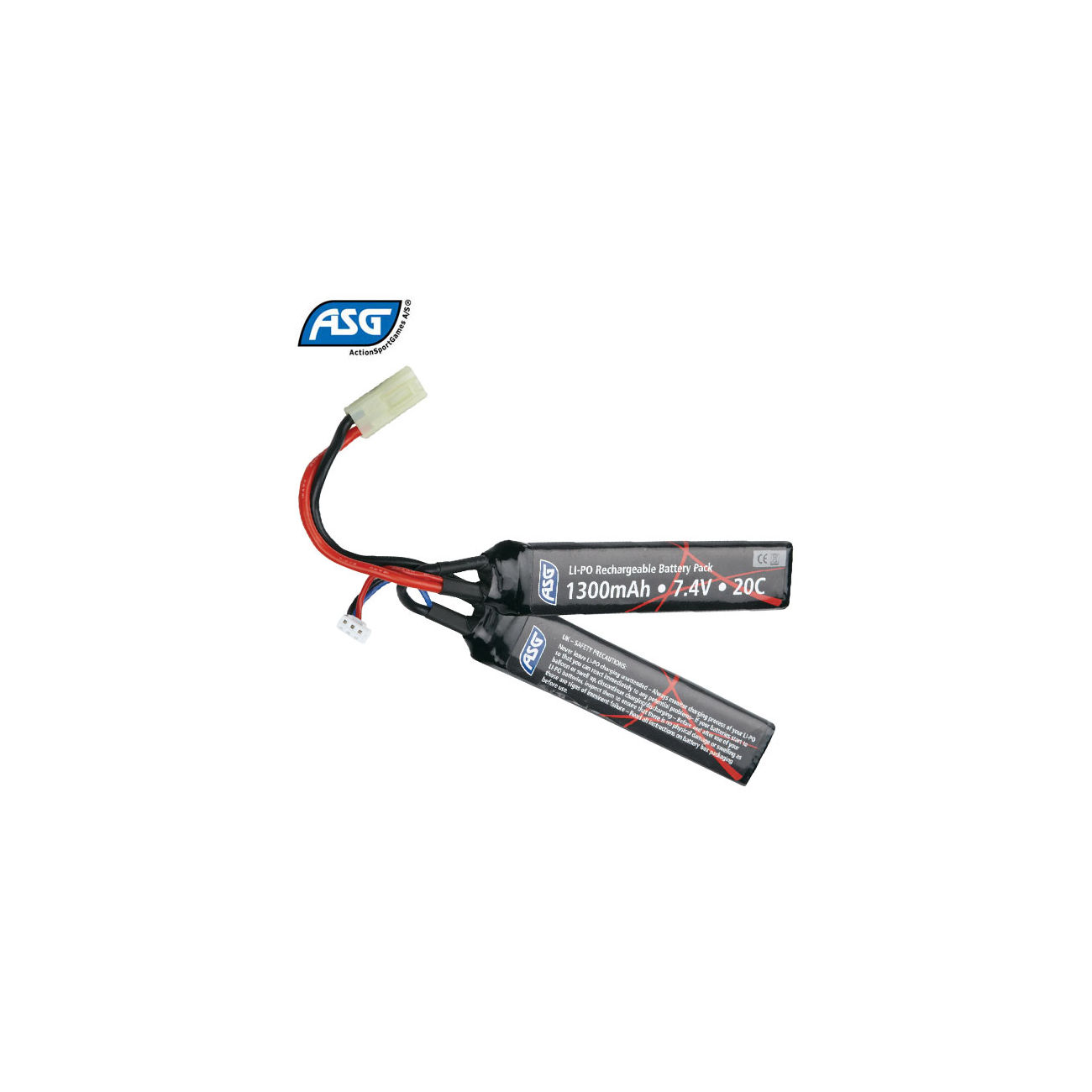 ASG LiPo Akku 7,4V 1300mAh 20C Two-Panel 0