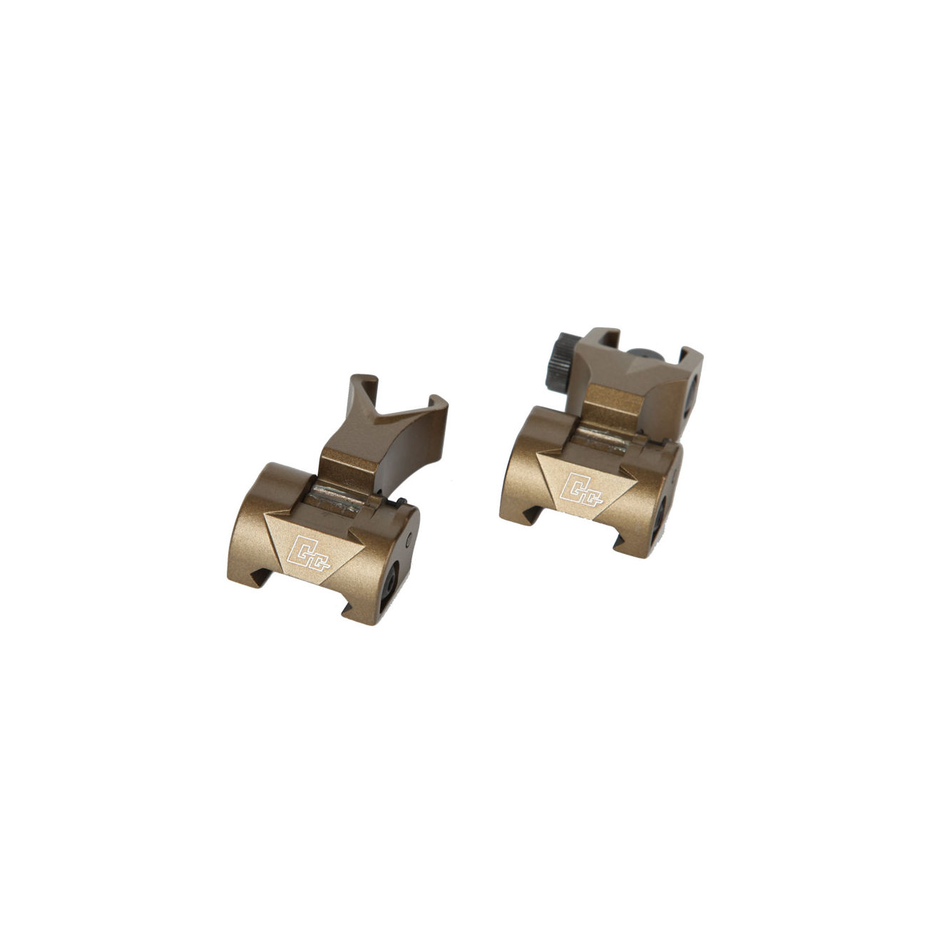 G&G Flip-Up Battle Sight Set Front / Rear für 21mm Schienen Desert Tan 1
