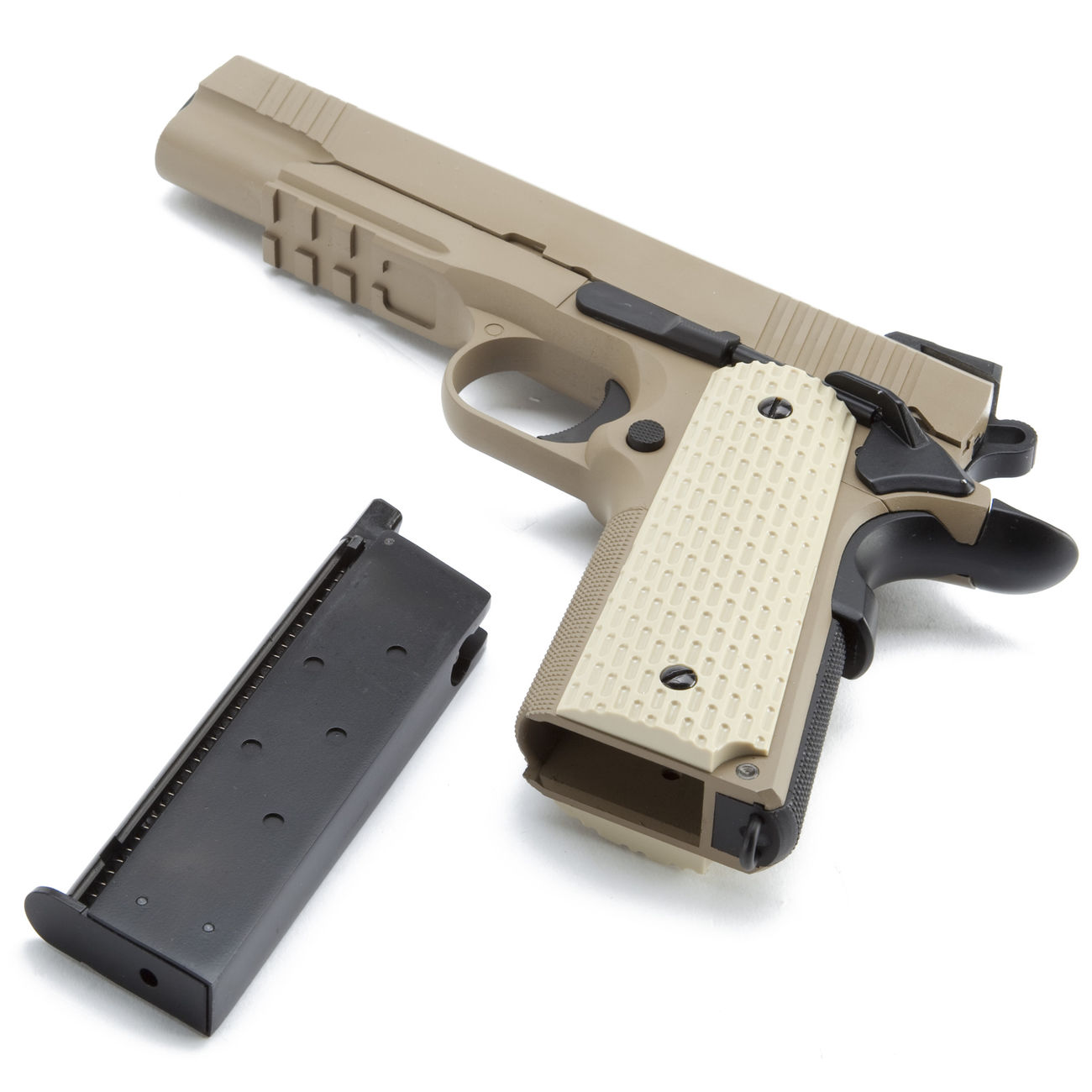 Wei-ETech Kbr-Style Warrior .45 ACP Vollmetall GBB 6mm BB Desert Tan 4