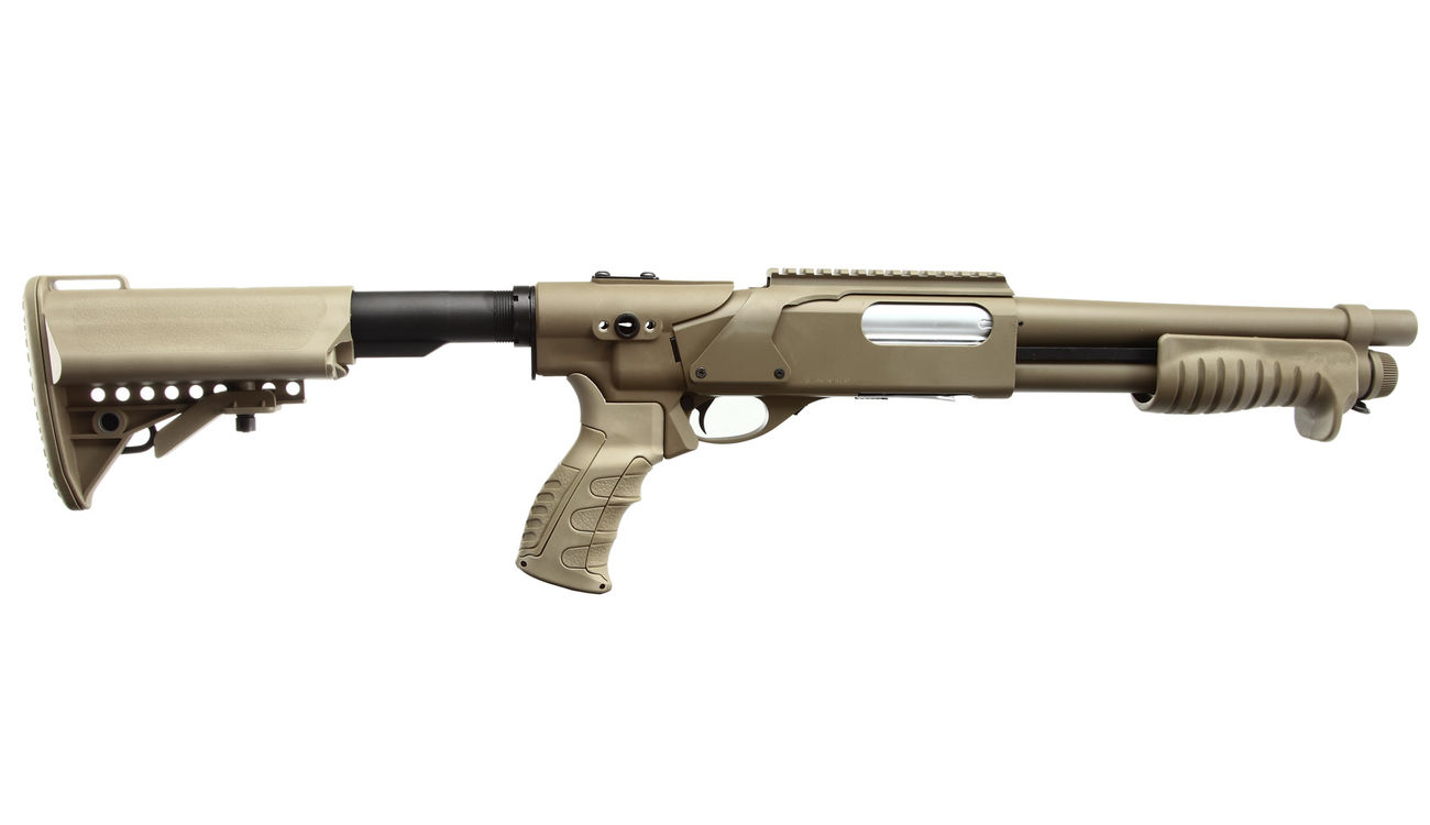 G&P M870 Combat Shorty Shotgun Vollmetall Springer 6mm BB Dark Earth Tan 2
