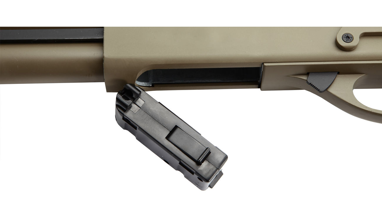 G&P M870 Combat Shorty Shotgun Vollmetall Springer 6mm BB Dark Earth Tan 4