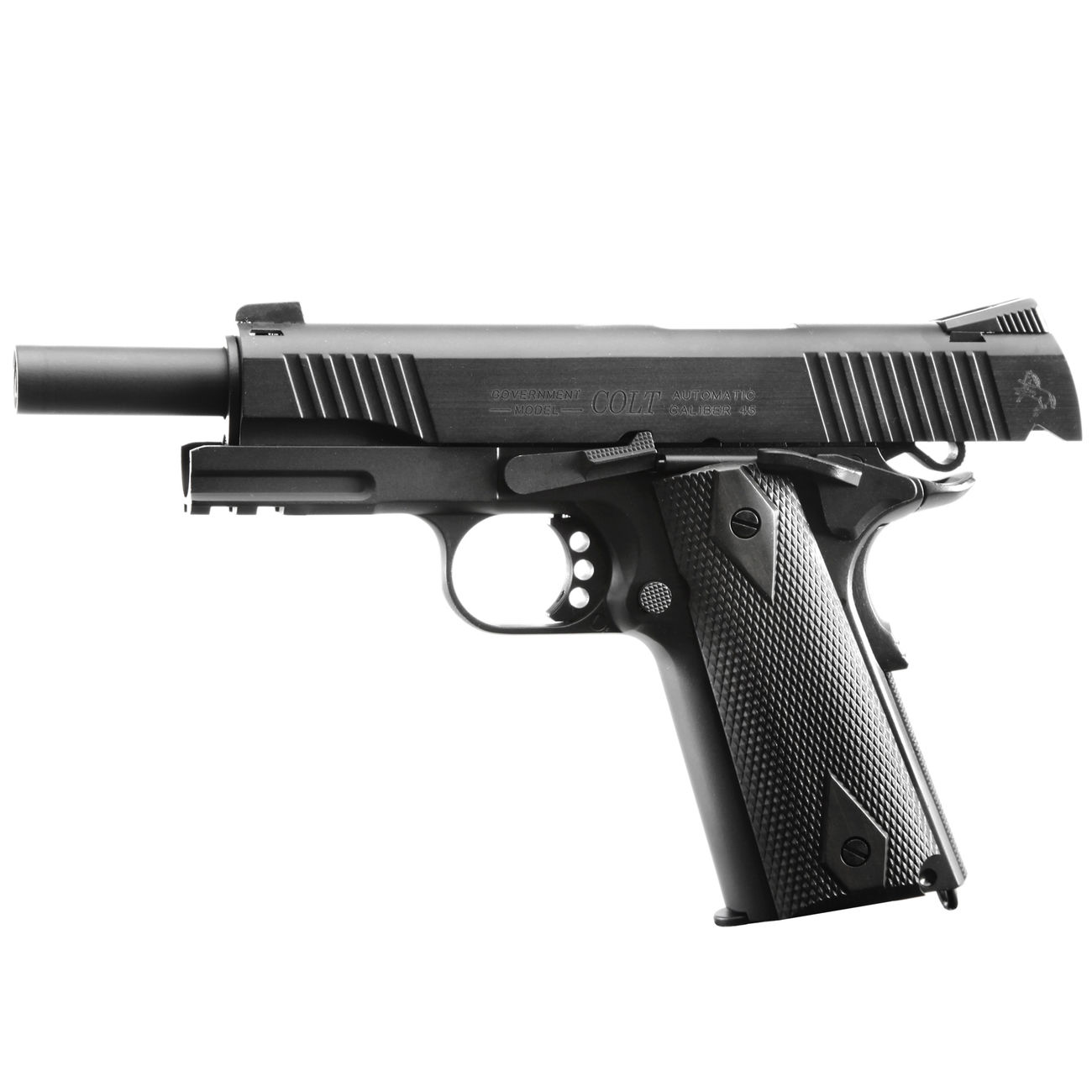 Cybergun Colt 1911 Rail Gun Vollmetall CO2 BlowBack 6mm BB schwarz 1