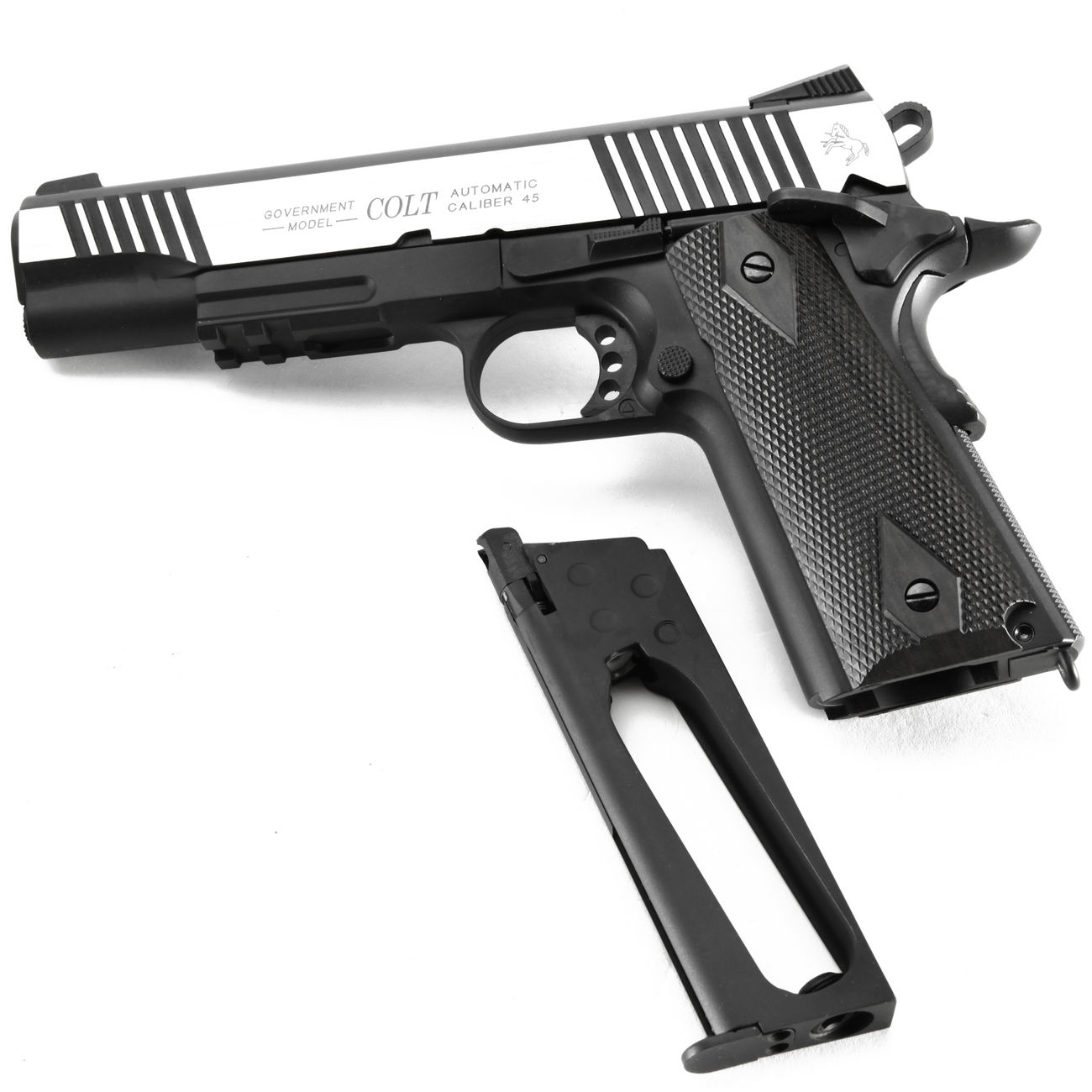 Cybergun Colt 1911 Rail Gun Vollmetall CO2 BlowBack 6mm BB Bicolor-Version 4