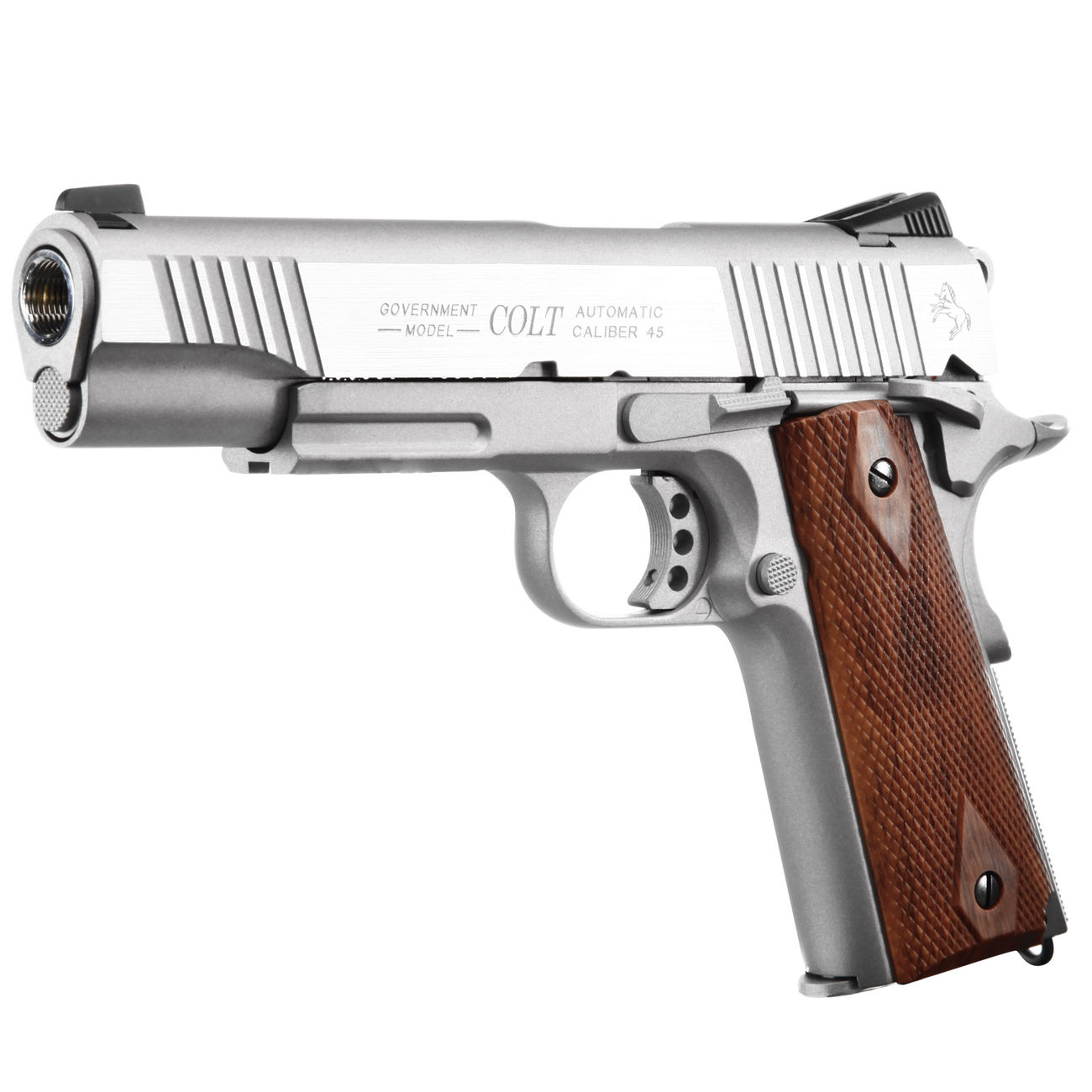 Cybergun Colt 1911 Rail Gun Vollmetall CO2 BlowBack 6mm BB Stainless-Version 0