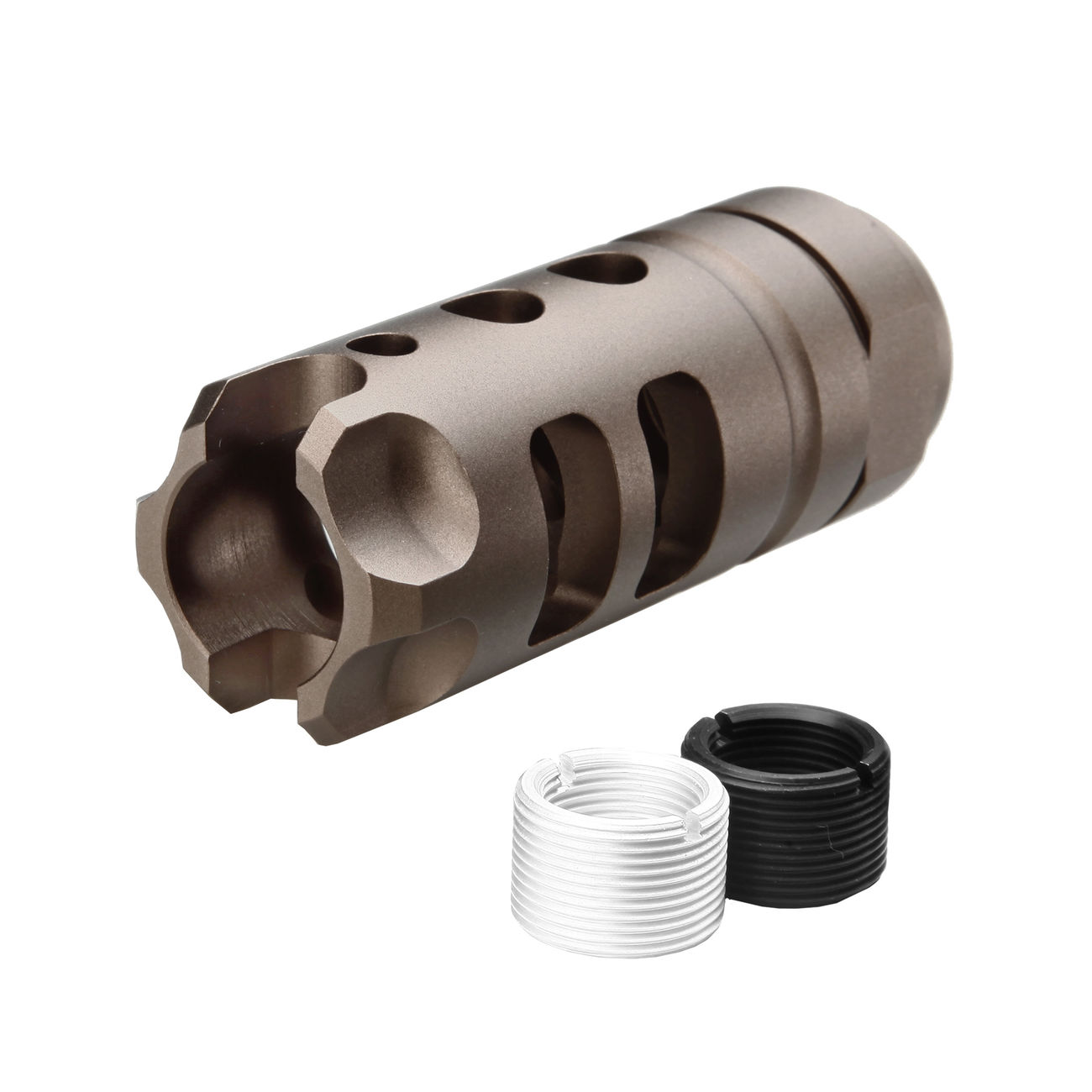 G&P MOTS Style Aluminium Flash-Hider sand 14mm+ / 14mm- 0