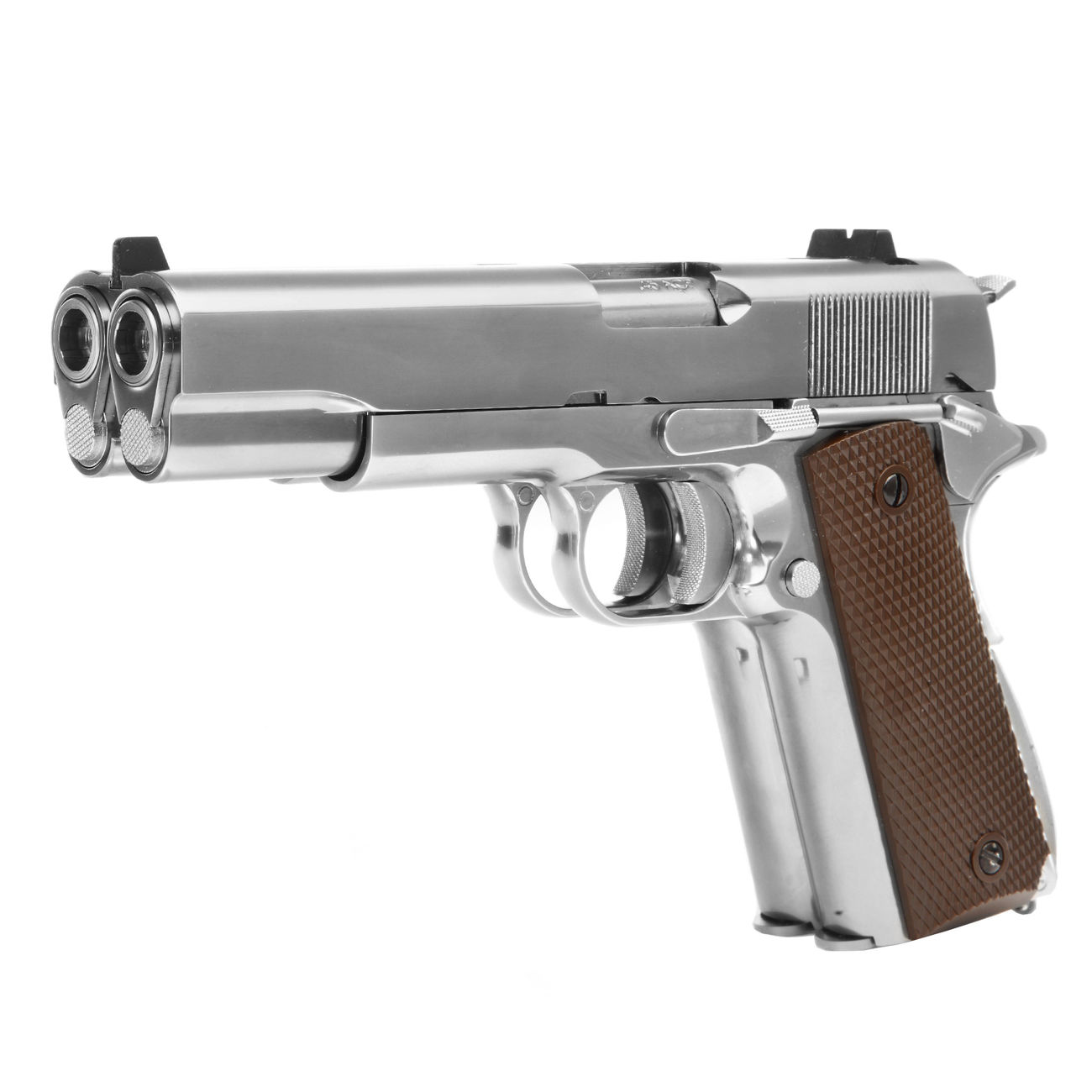 Wei-ETech M1911 Double Barrel Vollmetall GBB 6mm BB Chrome-Finish Edition 0