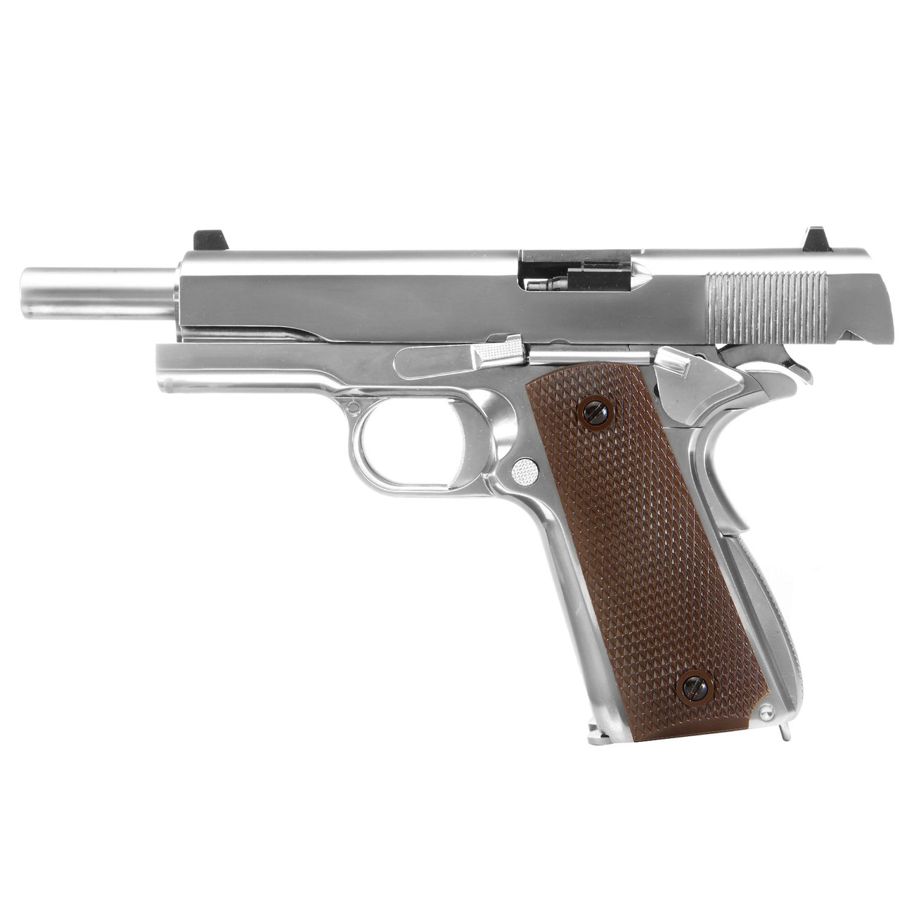 Wei-ETech M1911 Double Barrel Vollmetall GBB 6mm BB Chrome-Finish Edition 1