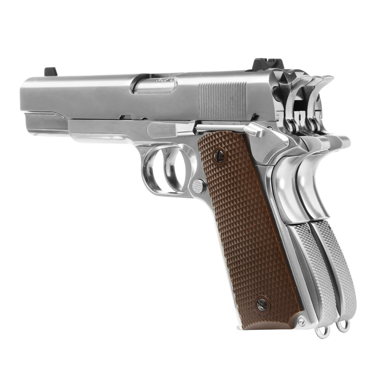 Wei-ETech M1911 Double Barrel Vollmetall GBB 6mm BB Chrome-Finish Edition 3