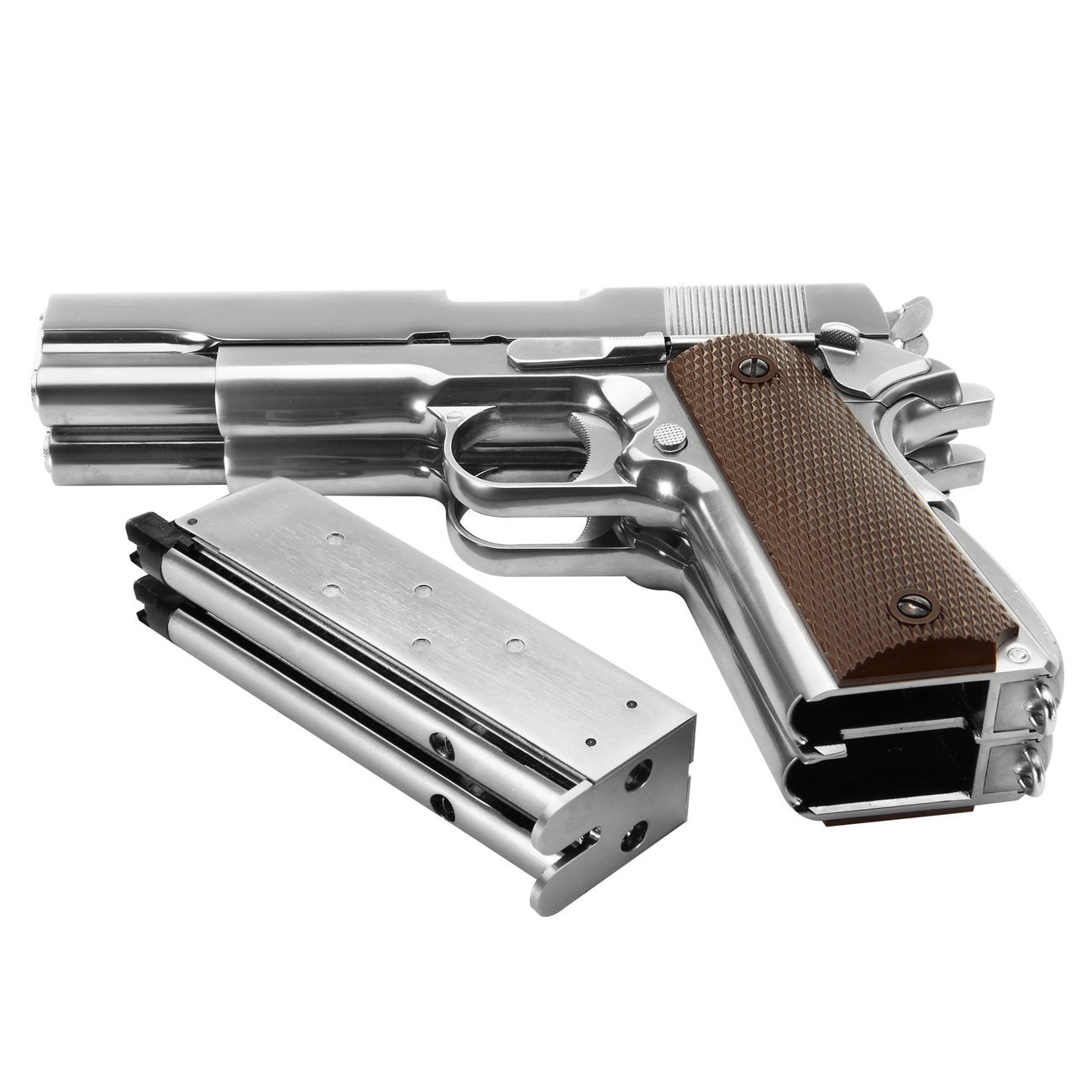 Wei-ETech M1911 Double Barrel Vollmetall GBB 6mm BB Chrome-Finish Edition 4