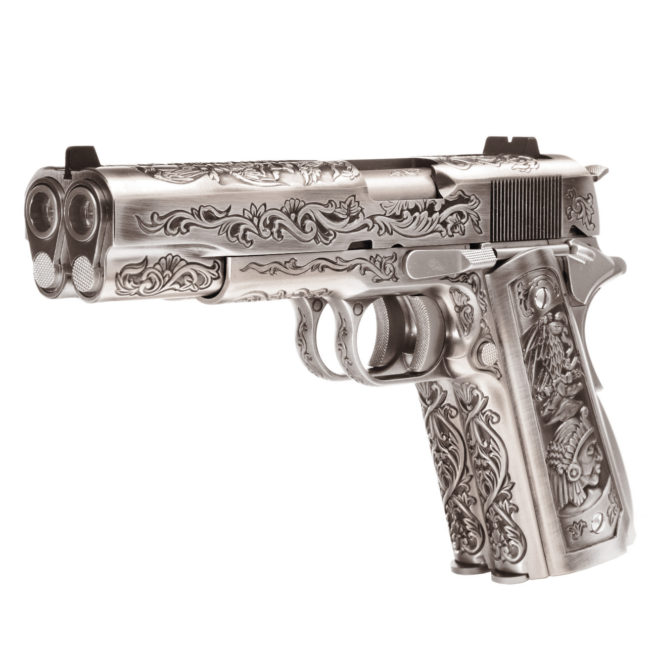 Wei-ETech M1911 Double Barrel Etched Version Mehico Druglord Vollmetall GBB 6mm BB Satin-Chrome 0