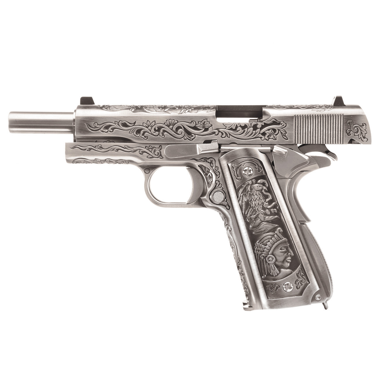 Wei-ETech M1911 Double Barrel Etched Version Mehico Druglord Vollmetall GBB 6mm BB Satin-Chrome 1