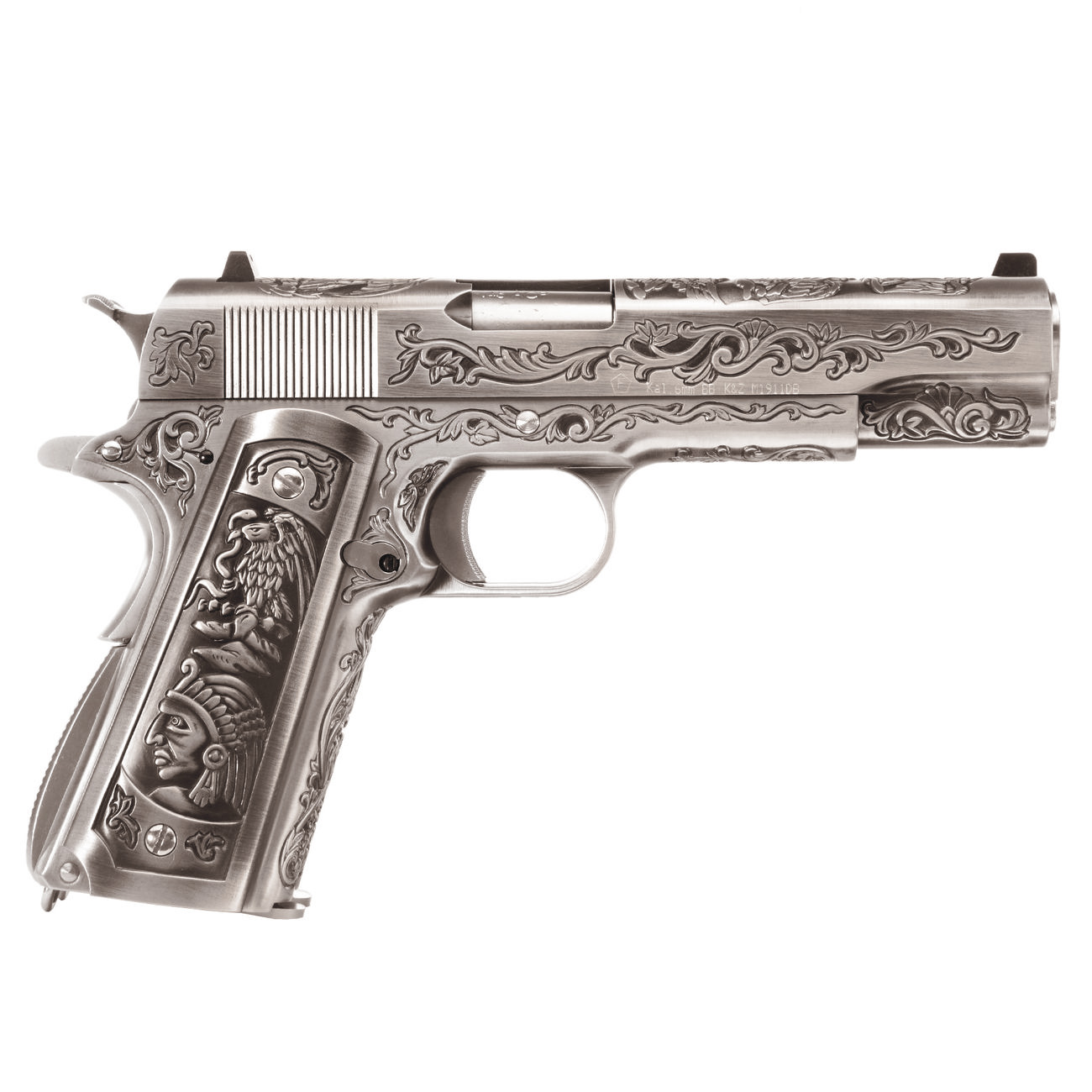 Wei-ETech M1911 Double Barrel Etched Version Mehico Druglord Vollmetall GBB 6mm BB Satin-Chrome 2