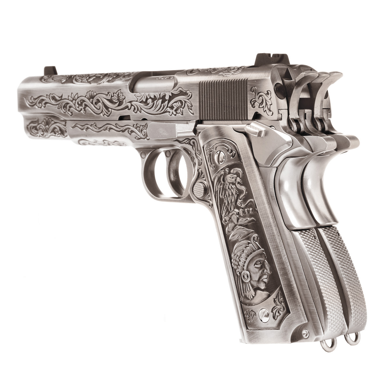 Wei-ETech M1911 Double Barrel Etched Version Mehico Druglord Vollmetall GBB 6mm BB Satin-Chrome 3