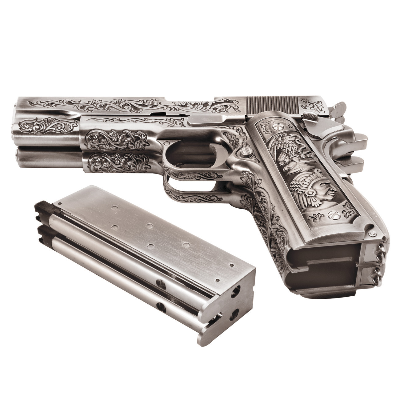 Wei-ETech M1911 Double Barrel Etched Version Mehico Druglord Vollmetall GBB 6mm BB Satin-Chrome 4