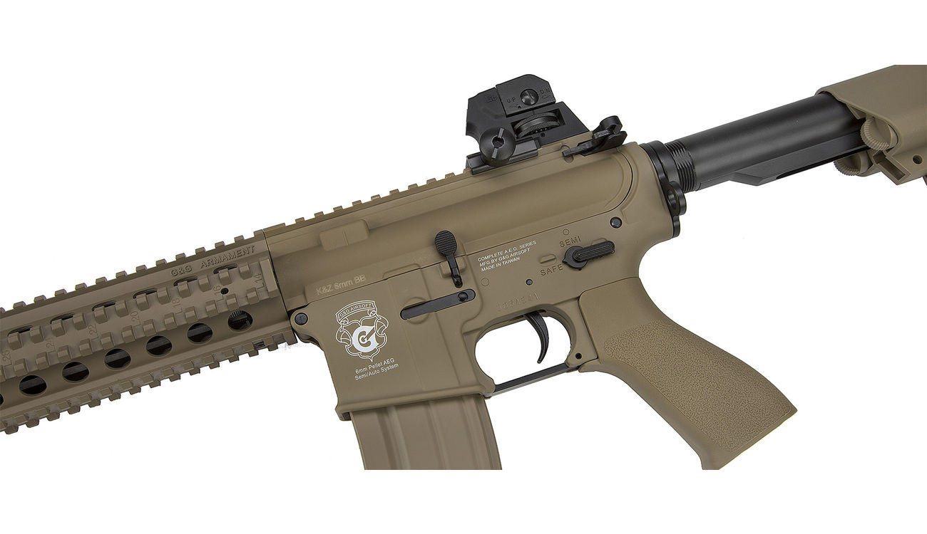 G&G GR15 RIS Raider S BlowBack Komplettset AEG 6mm BB Desert Tan 5