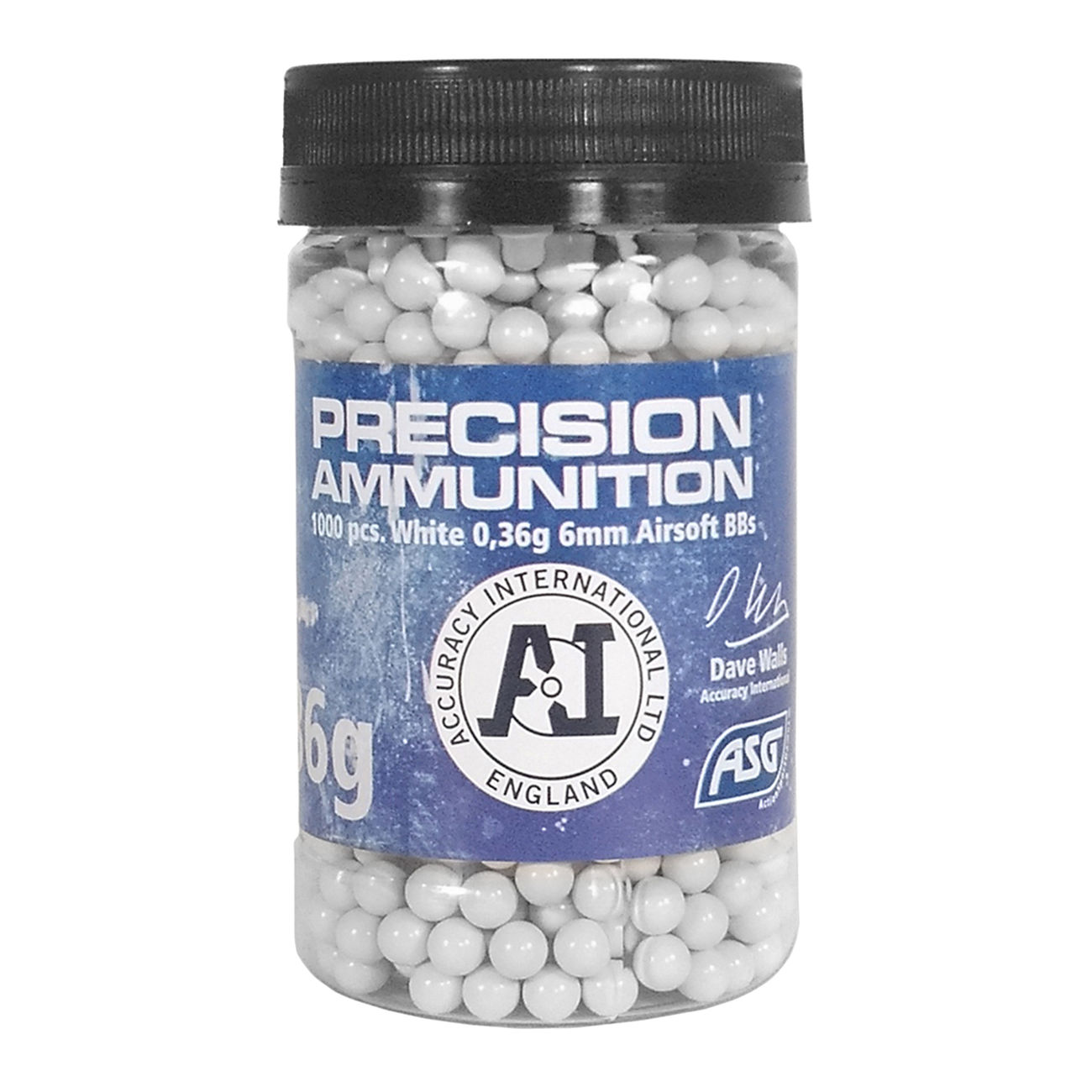 ASG / Accuracy International Precision Ammunition BBs 0.36g 1.000er Container weiss 0